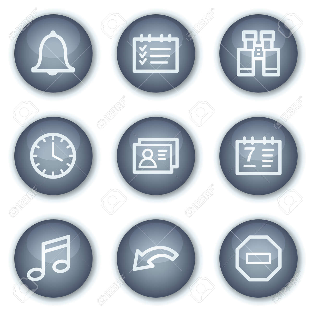 Organizer web icons, mineral circle buttons series Stock Vector - 6240387