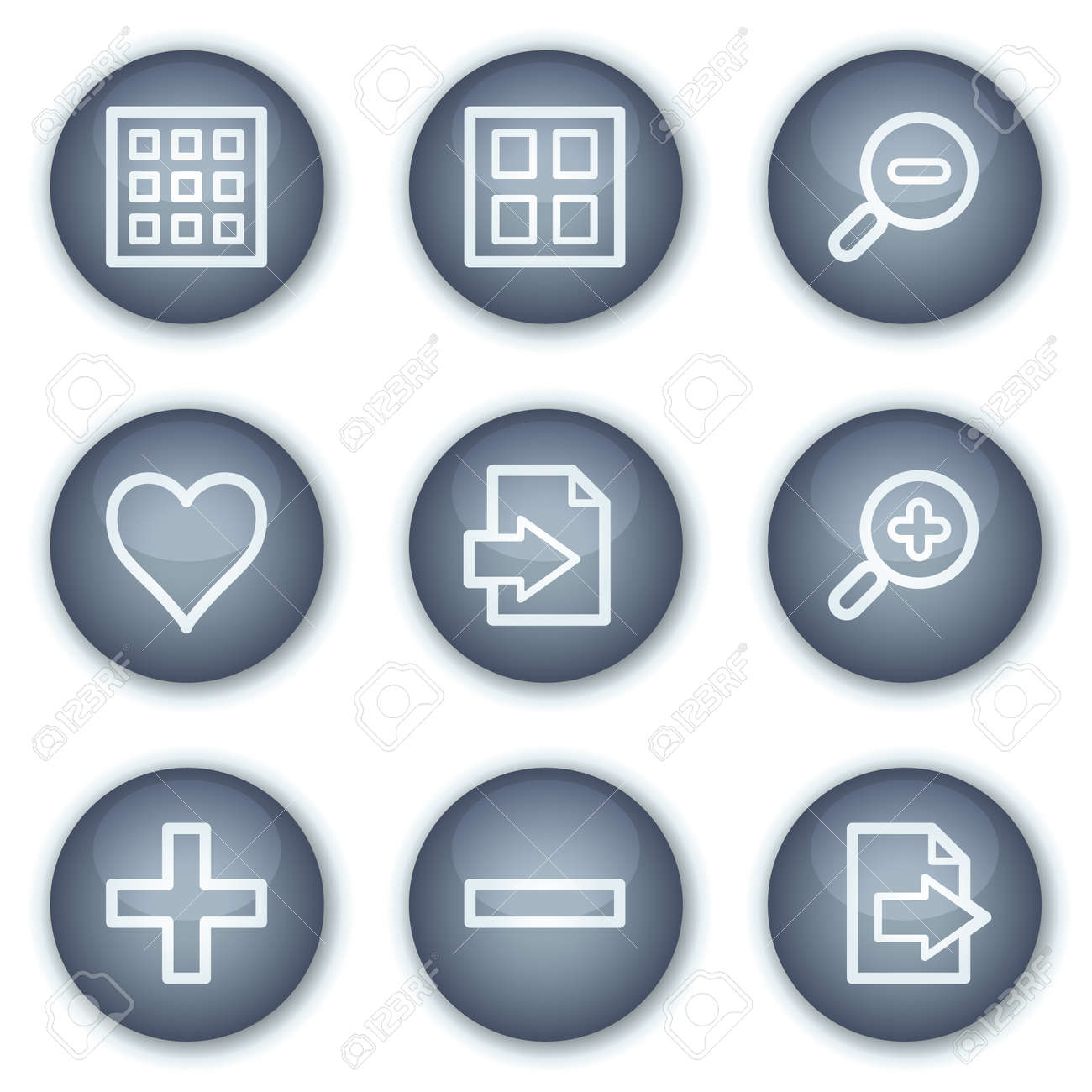 Image viever web icons set 1, mineral circle buttons series Stock Vector - 6240380