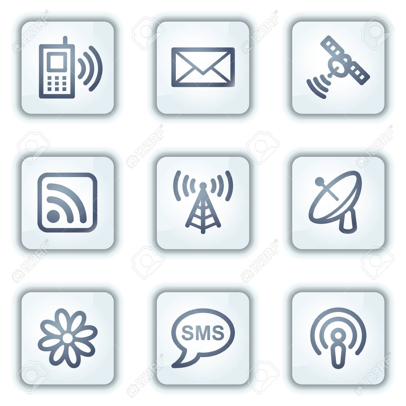 Communication web icons, white square buttons series Stock Vector - 6281593