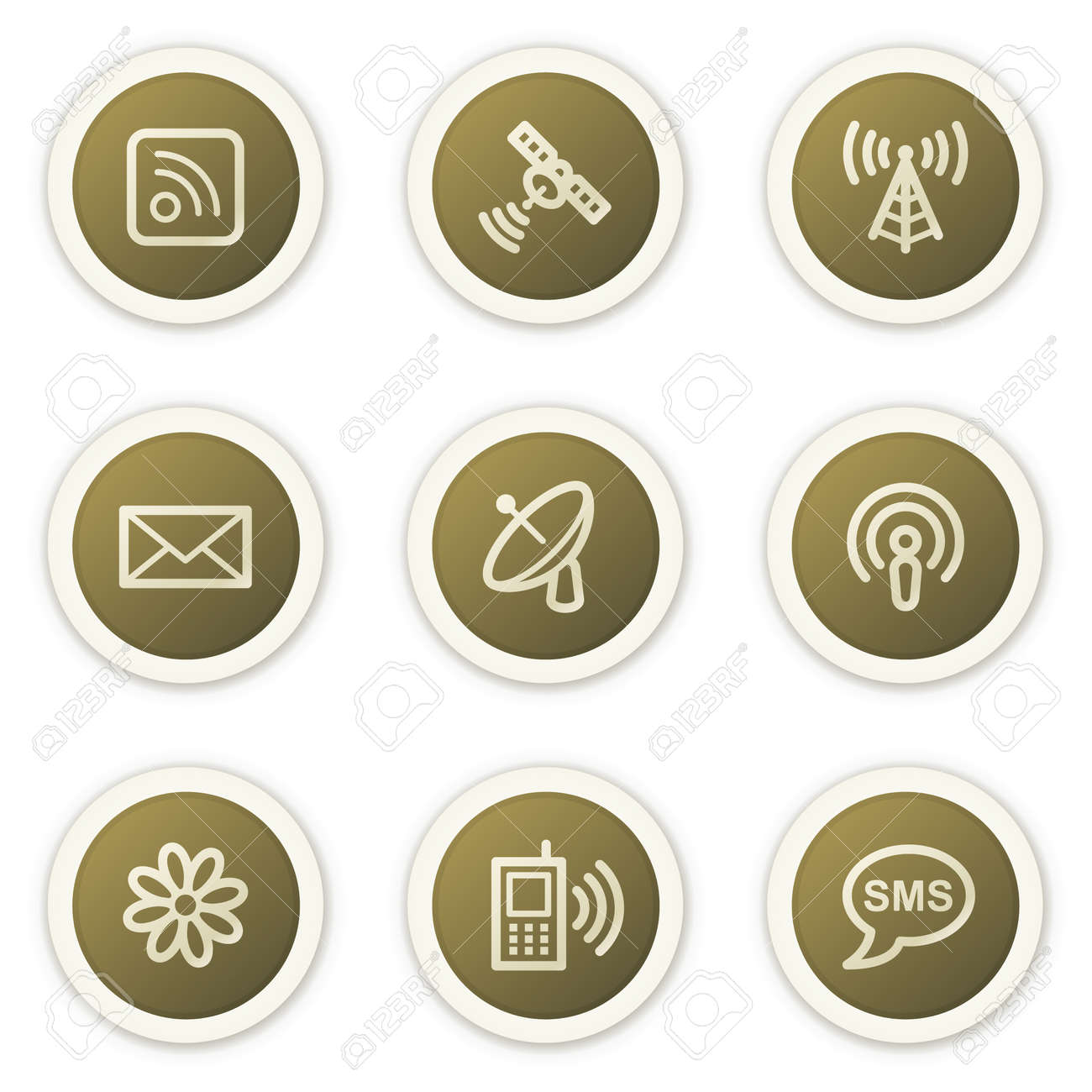 Internet communication web icons,  brown circle buttons series Stock Vector - 6386809