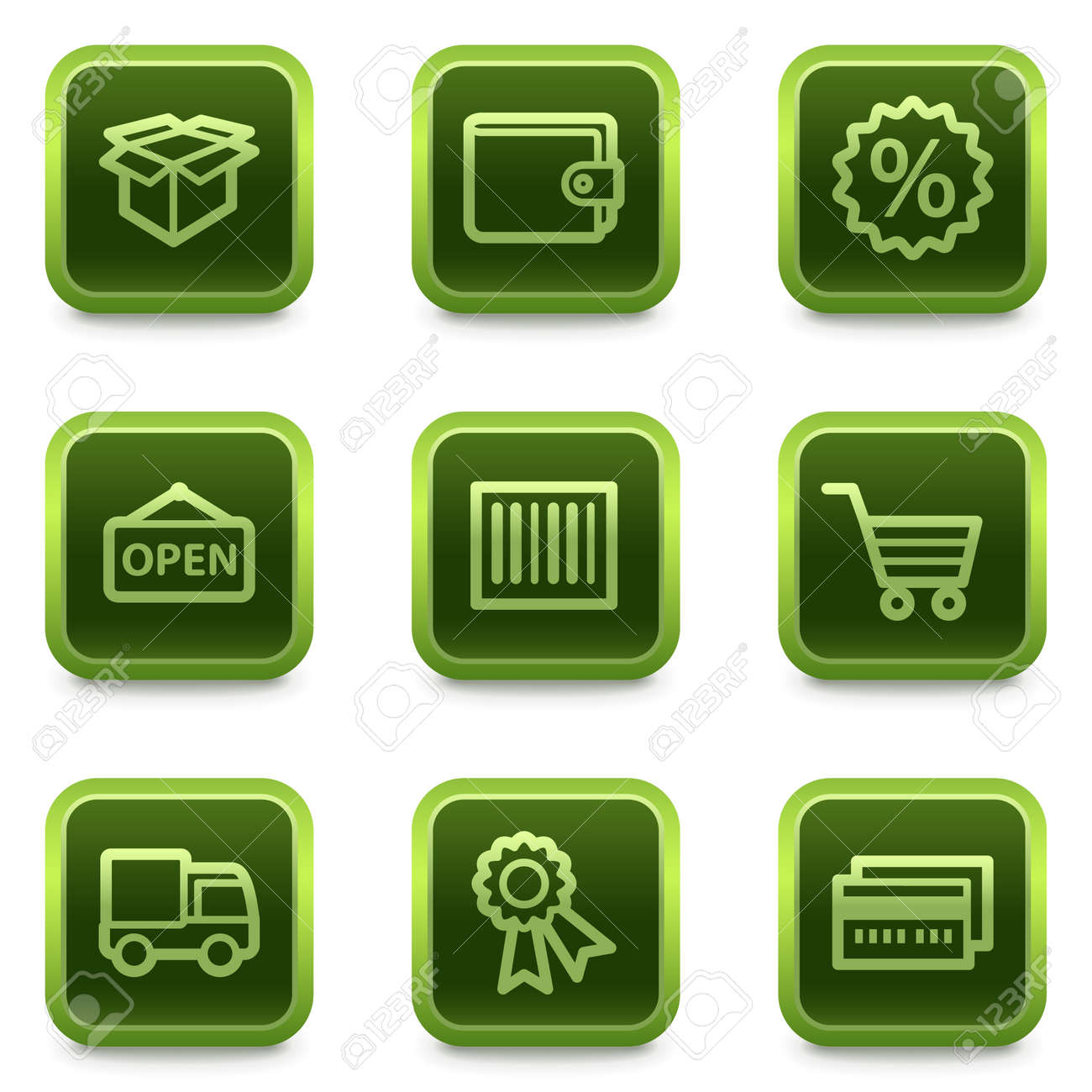 Shopping web icons set 2, green square buttons series Stock Vector - 6469311