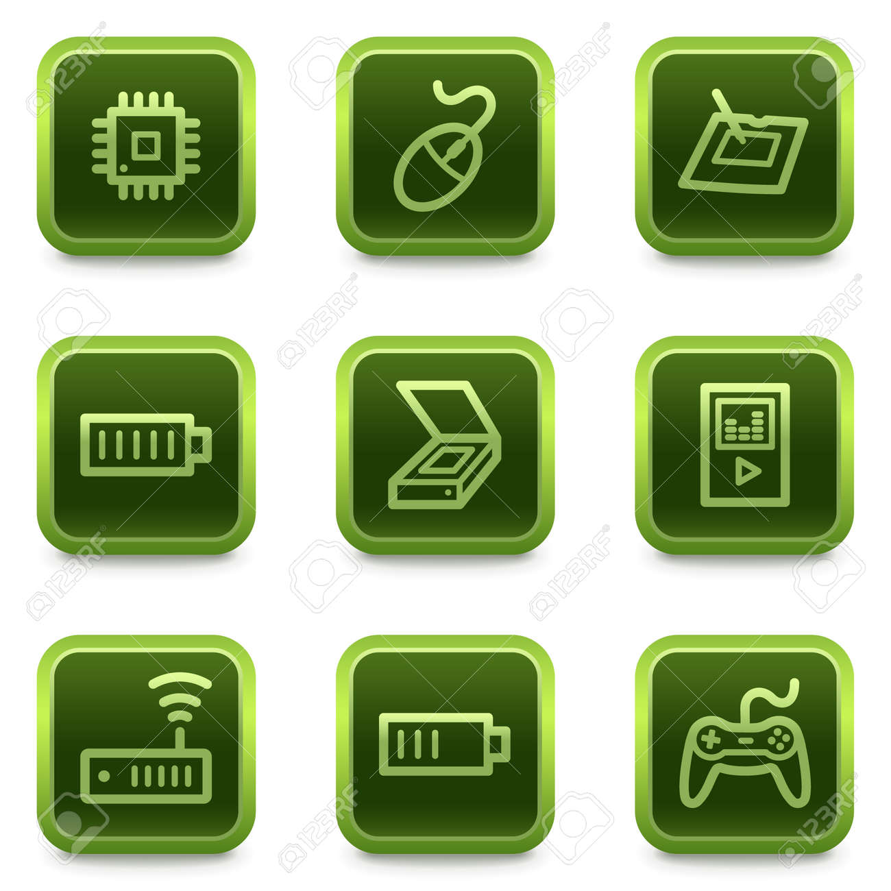 Electronics web icons set 2, green square buttons series Stock Vector - 6469303