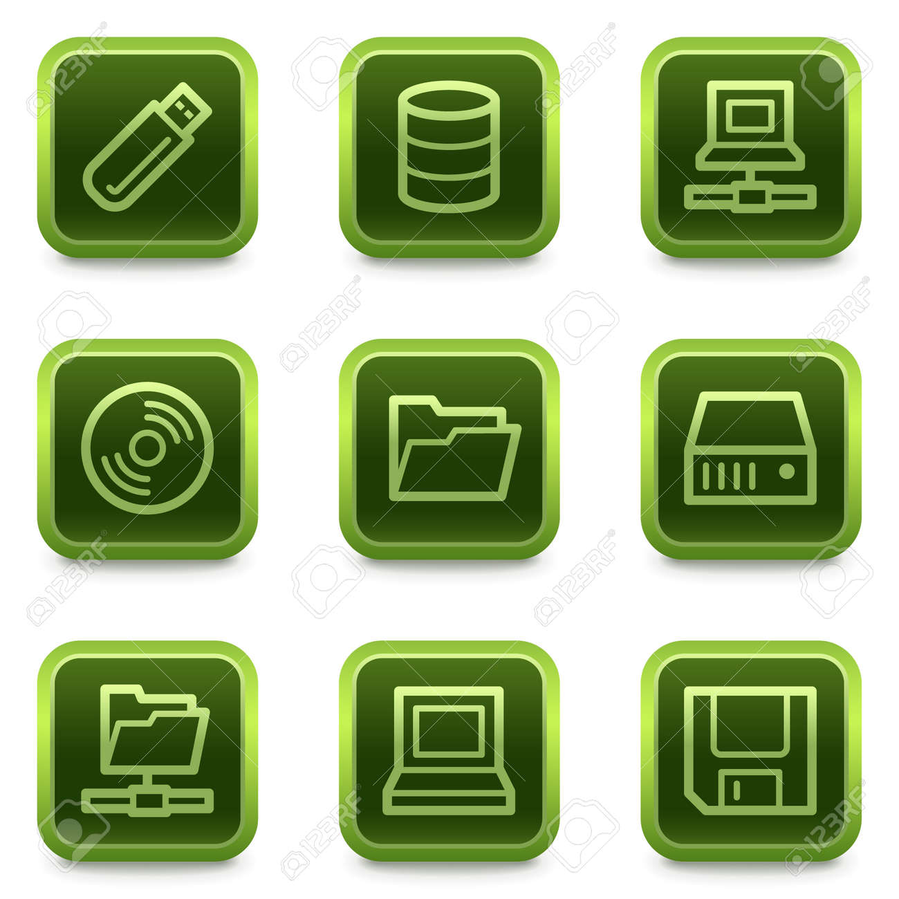 Drives and storage web icons, green square buttons series Stock Vector - 6469297