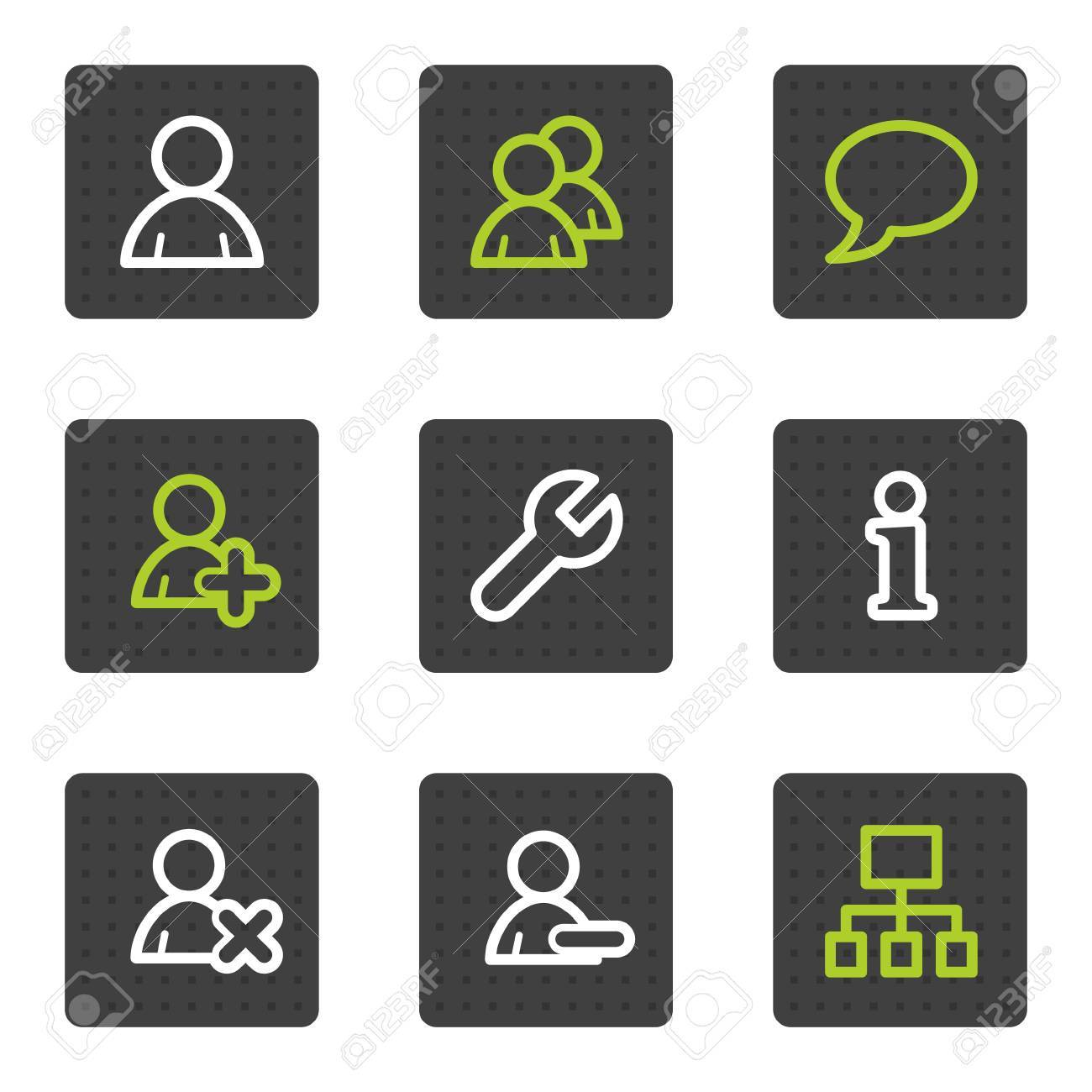 Users web icons, grey square buttons series Stock Vector - 6493438