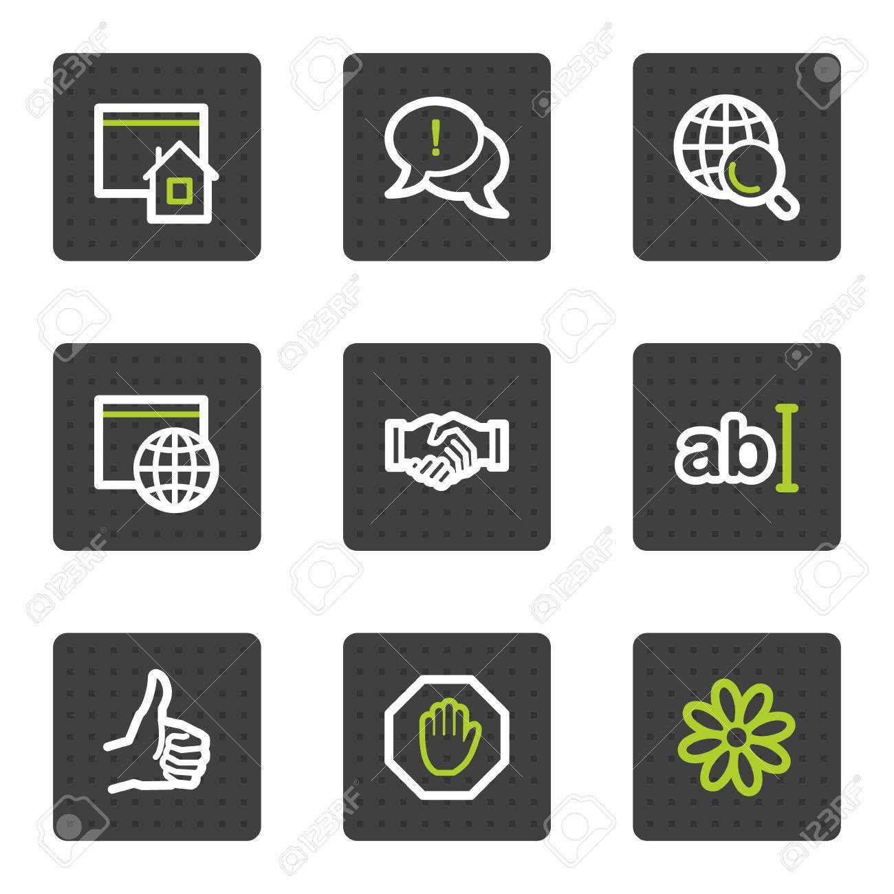 Internet web icons set 1, grey square buttons series Stock Vector - 6493434