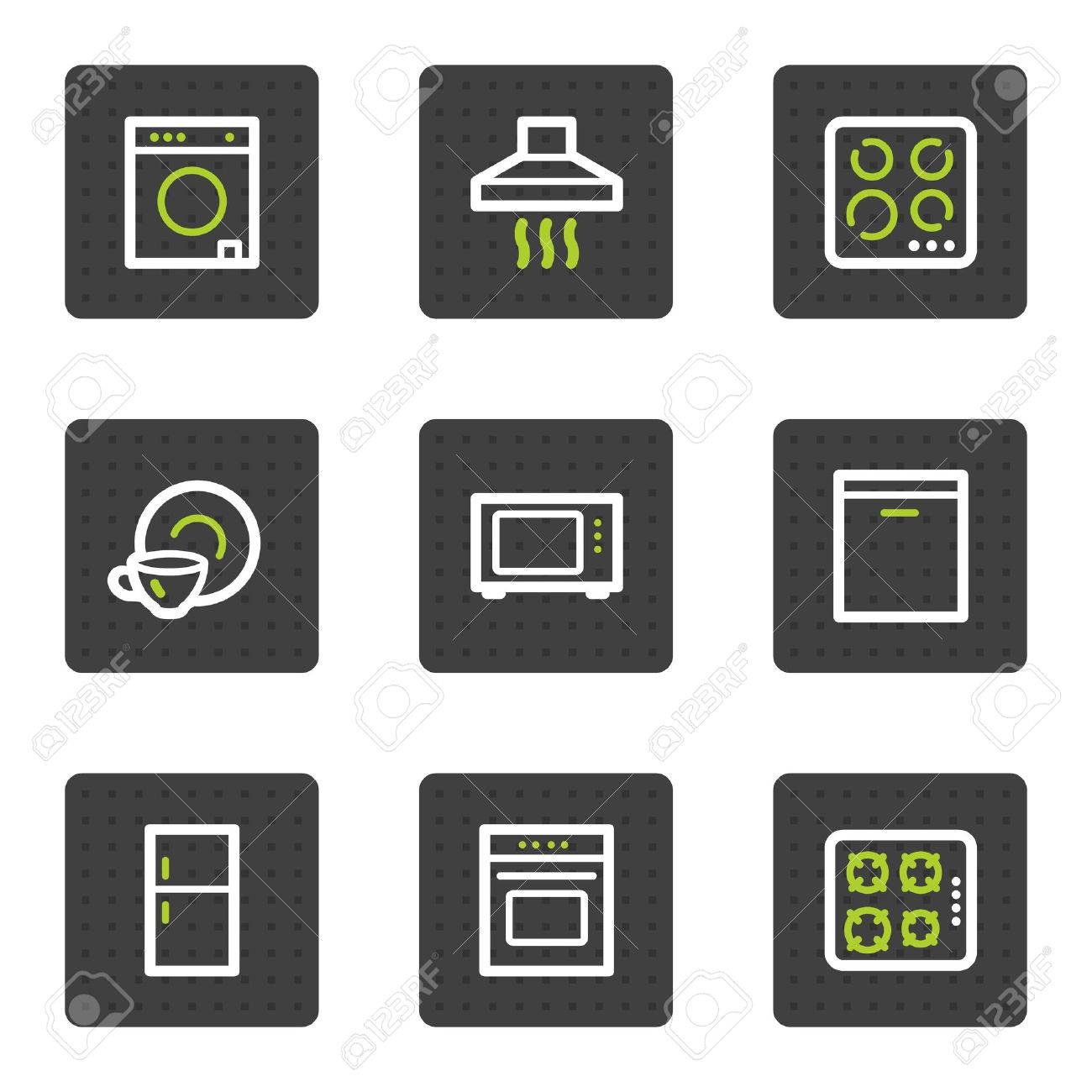 Home appliances web icons, grey square buttons series Stock Vector - 6493421