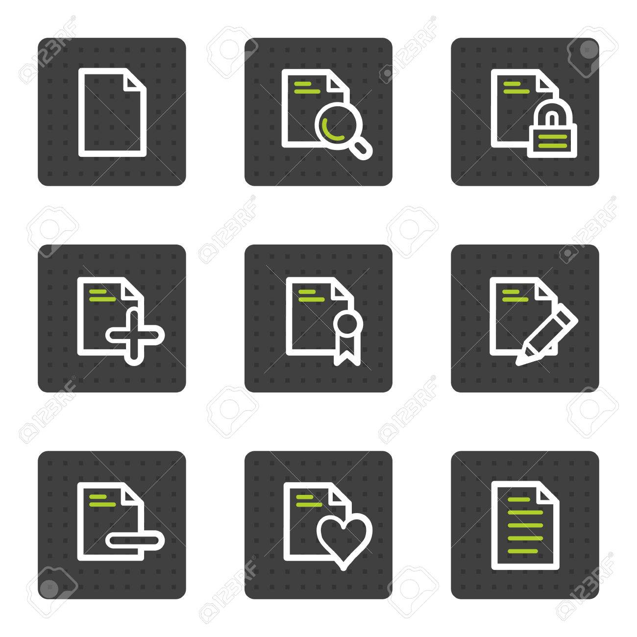 Document web icons set 2, grey square buttons series Stock Vector - 6493451