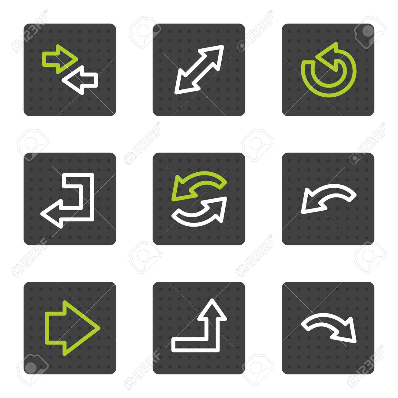 Arrows web icons set 1, grey square buttons series Stock Vector - 6493442