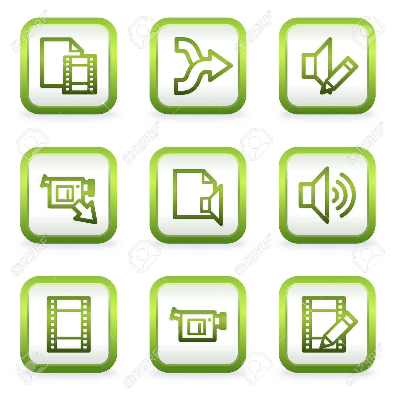 Audio video edit web icons square buttons green contour royalty audio video edit web icons square buttons green contour stock vector 6622405 ccuart Images
