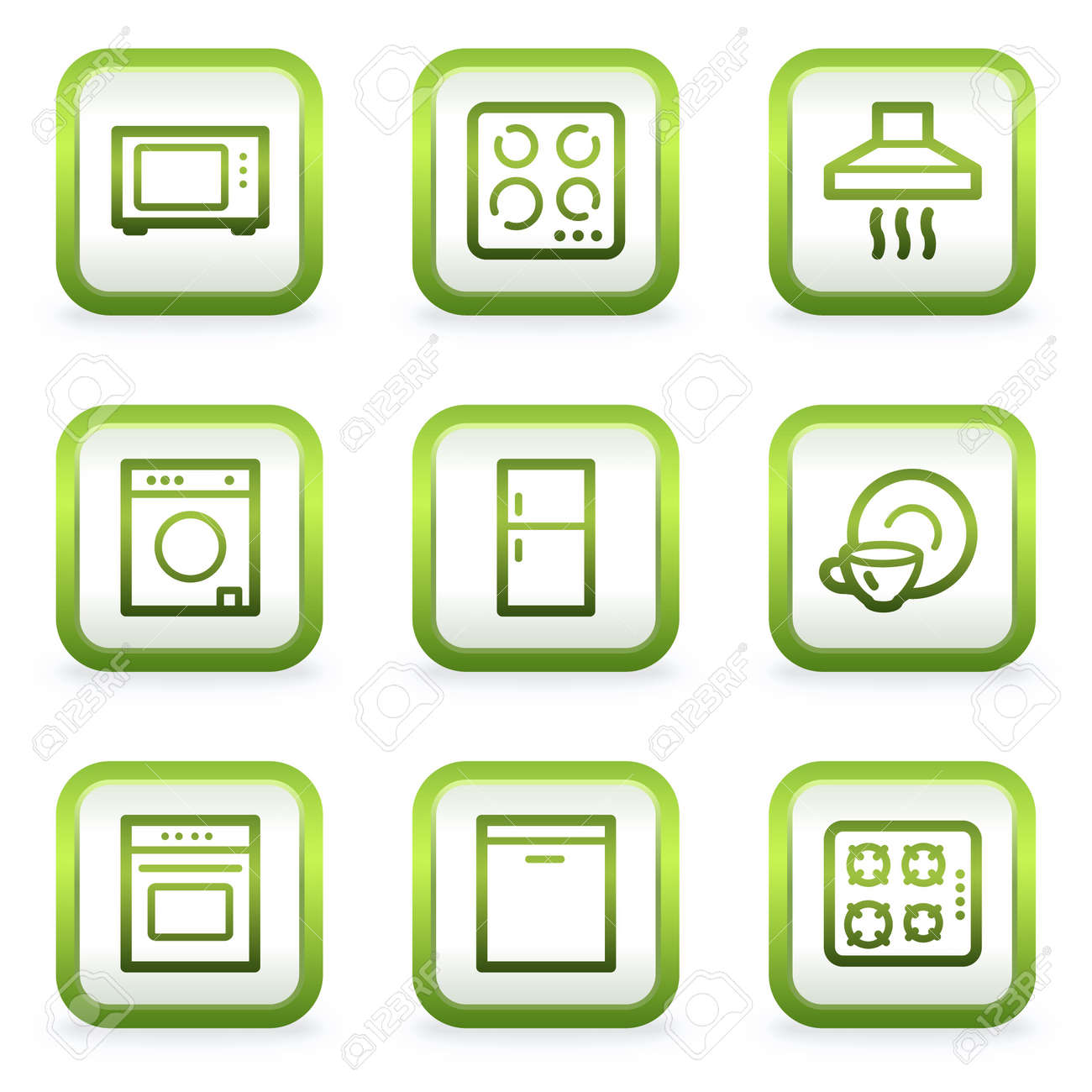 Home appliances web icons, square buttons, green contour Stock Vector - 6622409