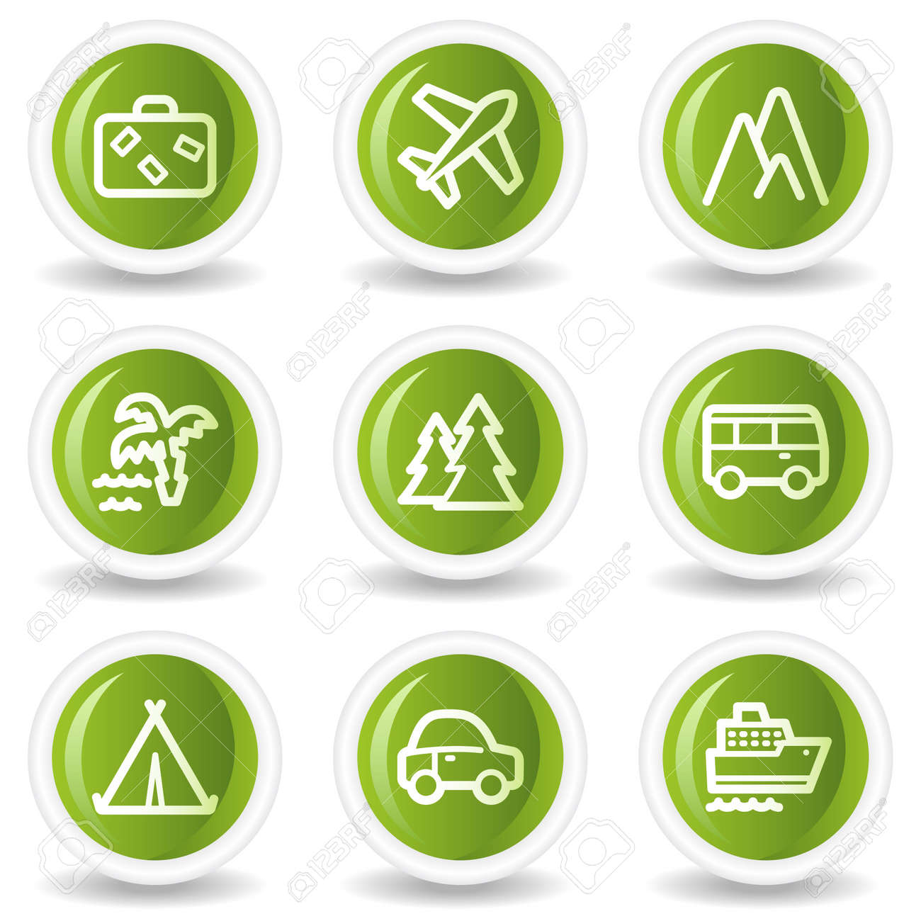 Travel web icons set 1, green circle buttons Stock Vector - 6685542