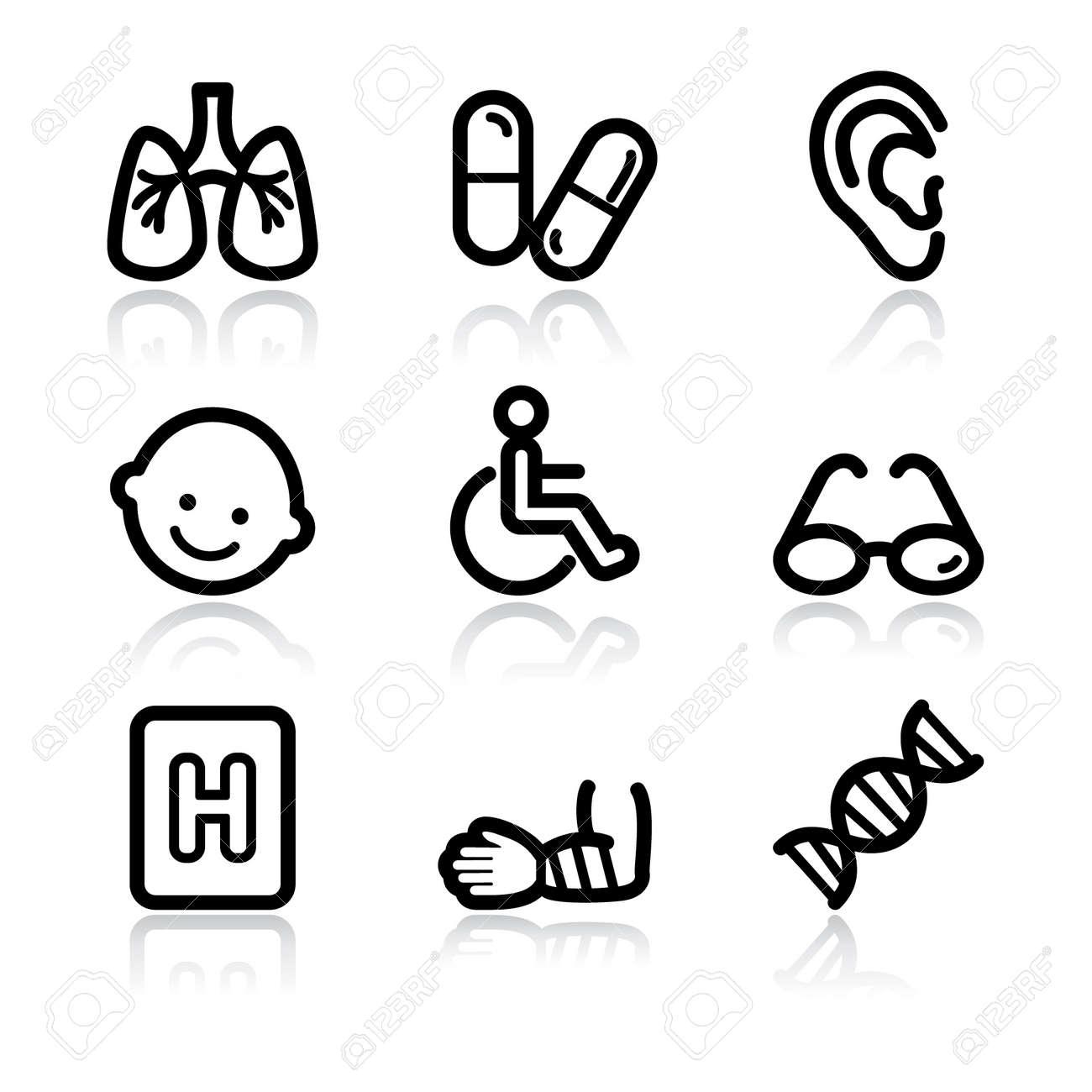 Black contour medicine set 2 web icons V2 Stock Vector - 6717636