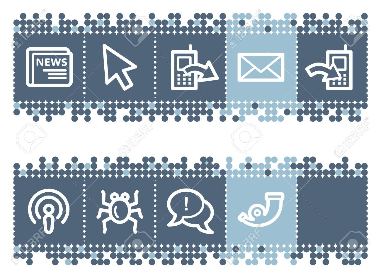 Blue dots bar with internet web icons set 2 Stock Vector - 6826971