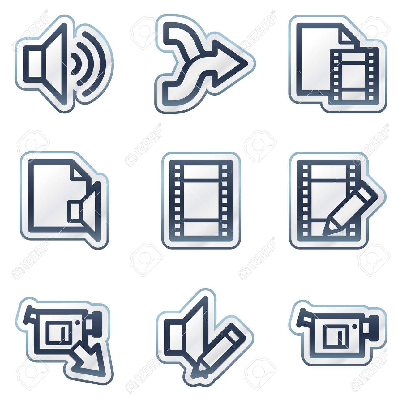 Audio video edit web icons deep blue contour sticker series audio video edit web icons deep blue contour sticker series stock vector 6826821 ccuart Images