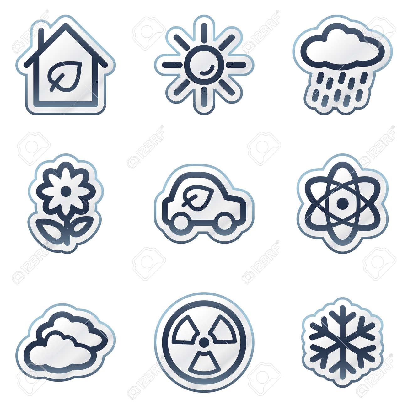 Ecology web icons set 2, deep blue contour sticker series Stock Vector - 6826856