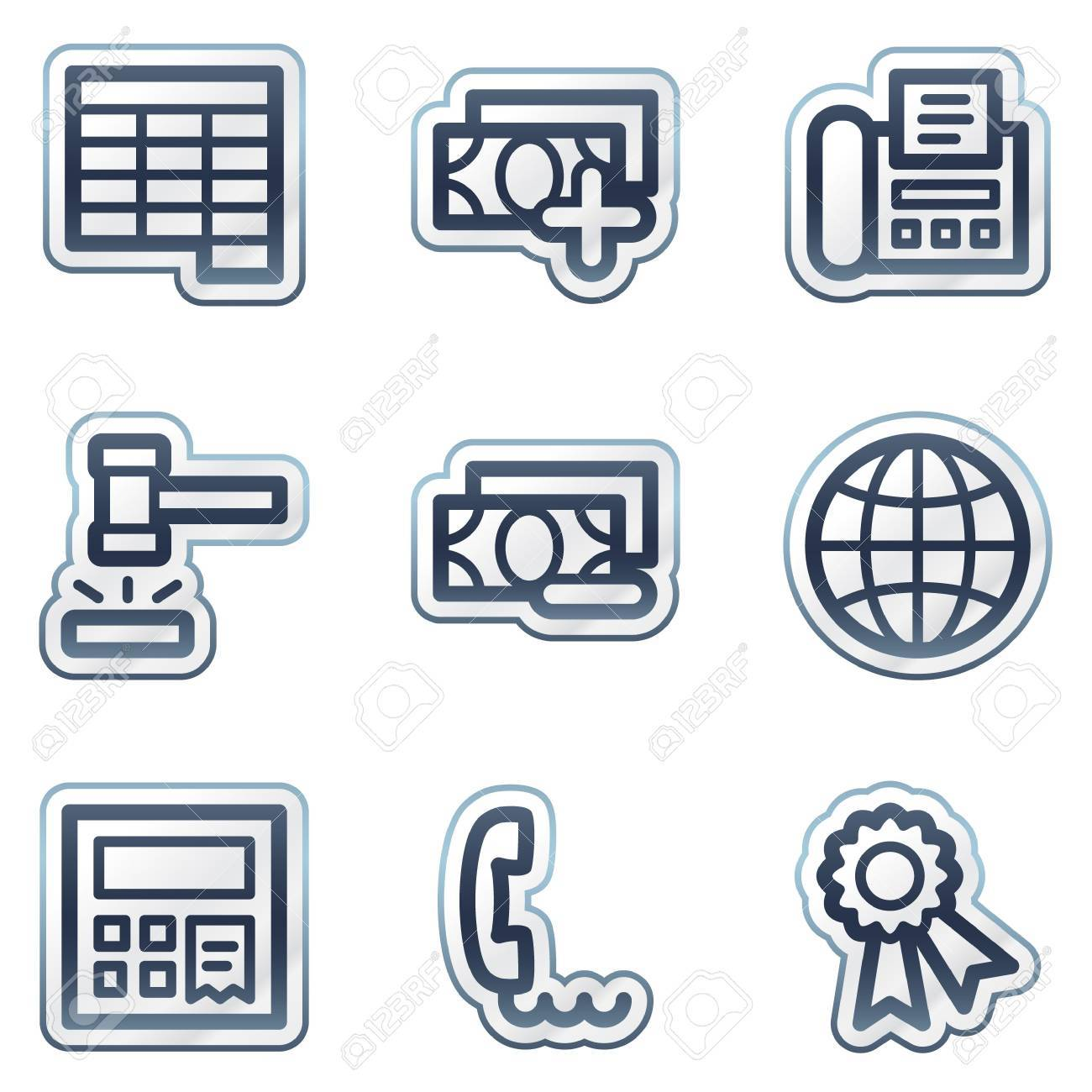 Finance web icons set 2, deep blue contour sticker series Stock Vector - 6826834