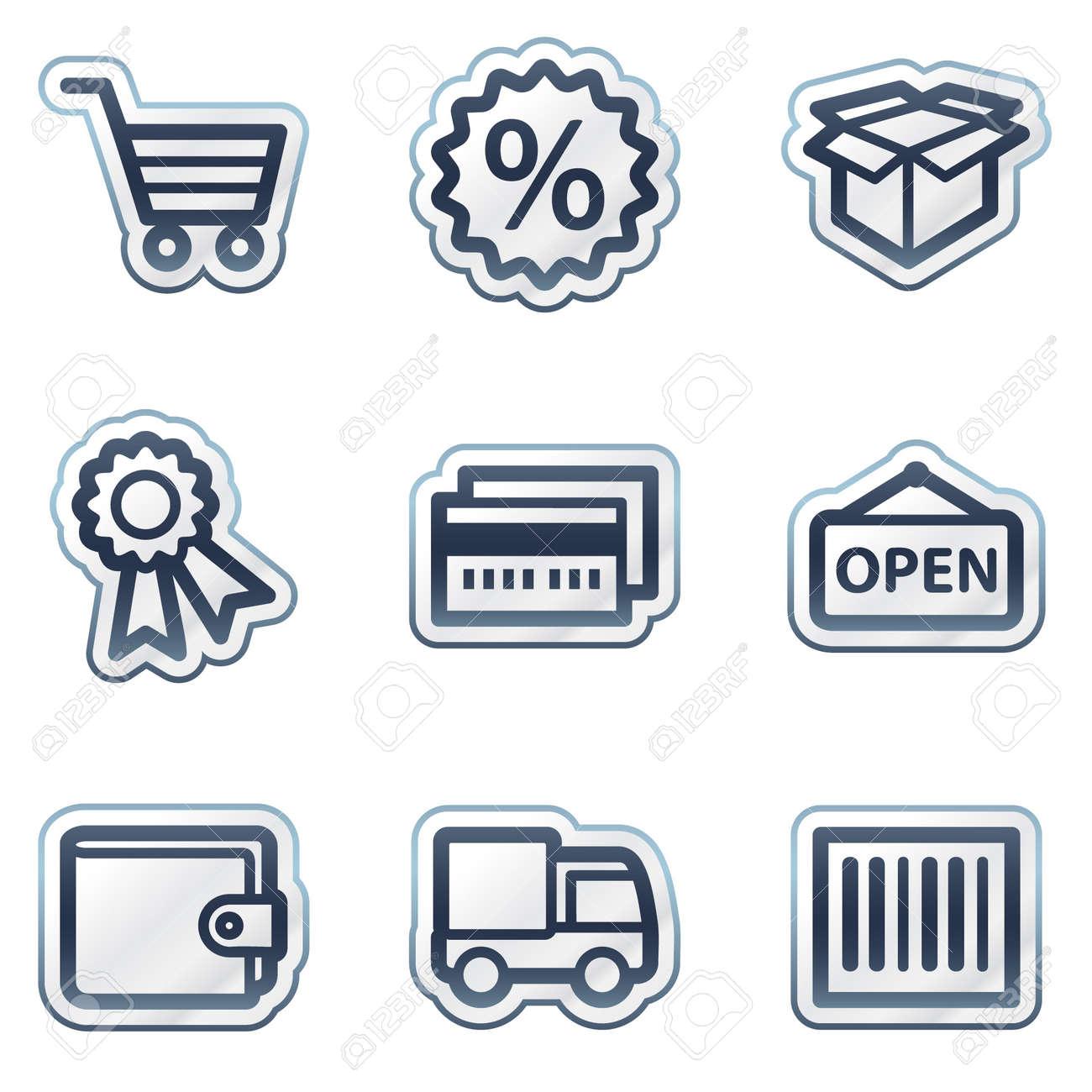 Shopping web icons set 2, deep blue contour sticker series - 6826835