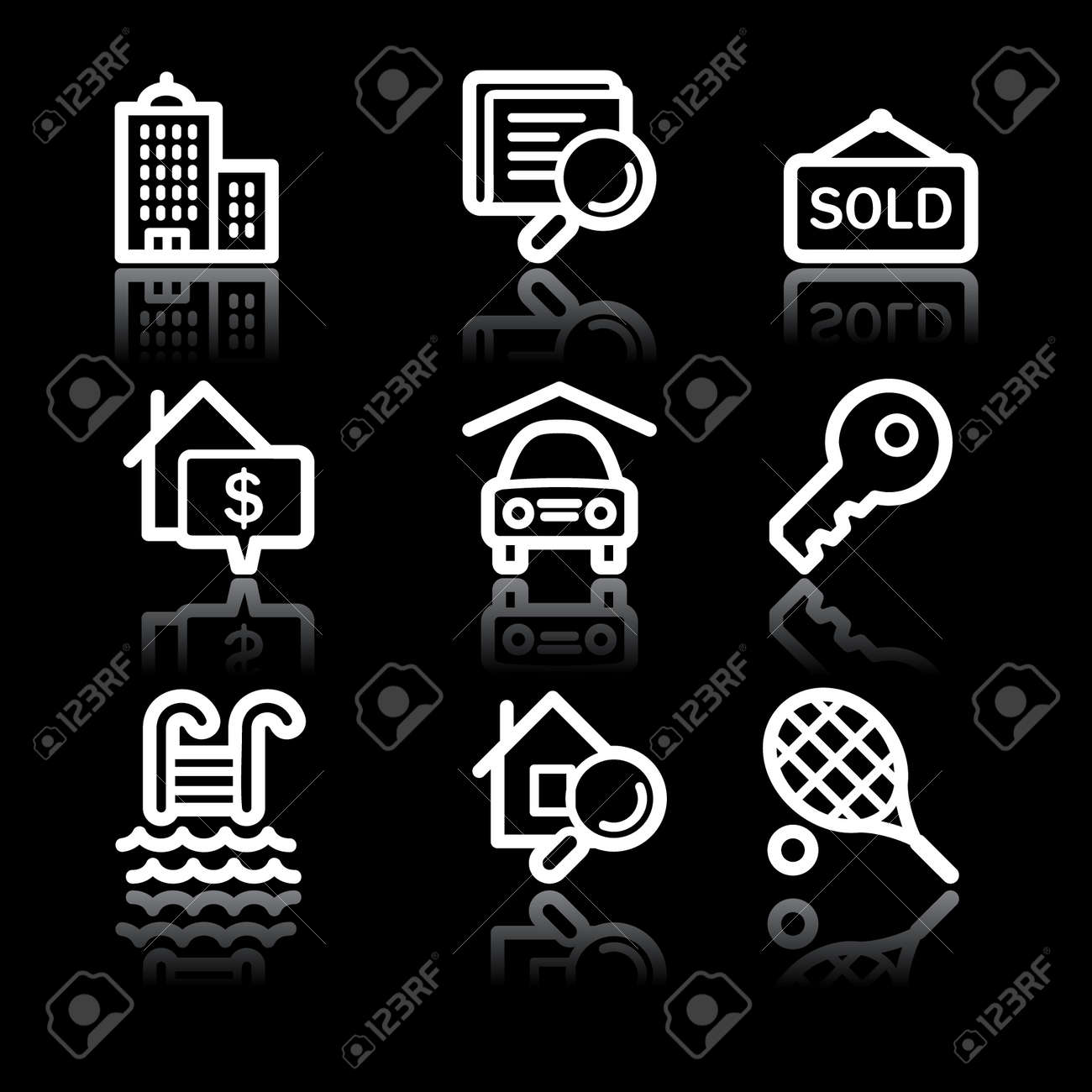 White contour real estate web icons V2 Stock Vector - 6826893