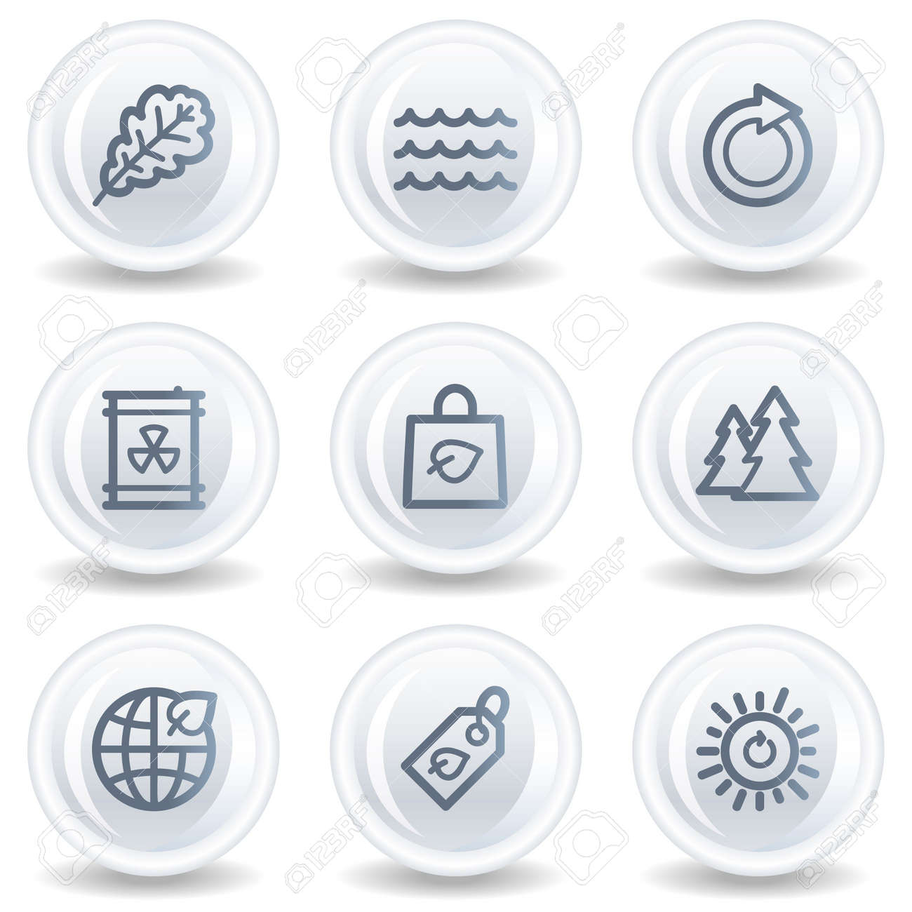 Ecology web icons set 3, white glossy circle buttons Stock Photo - 6826932