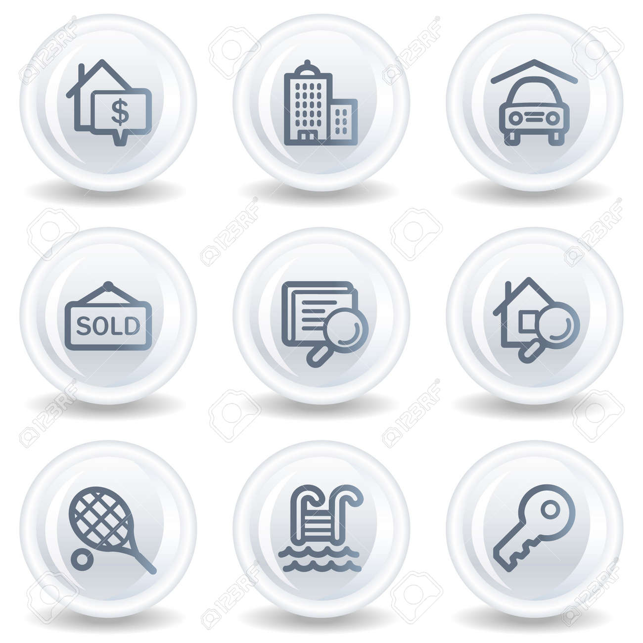 Real estate web icons, white glossy circle buttons Stock Photo - 6826904