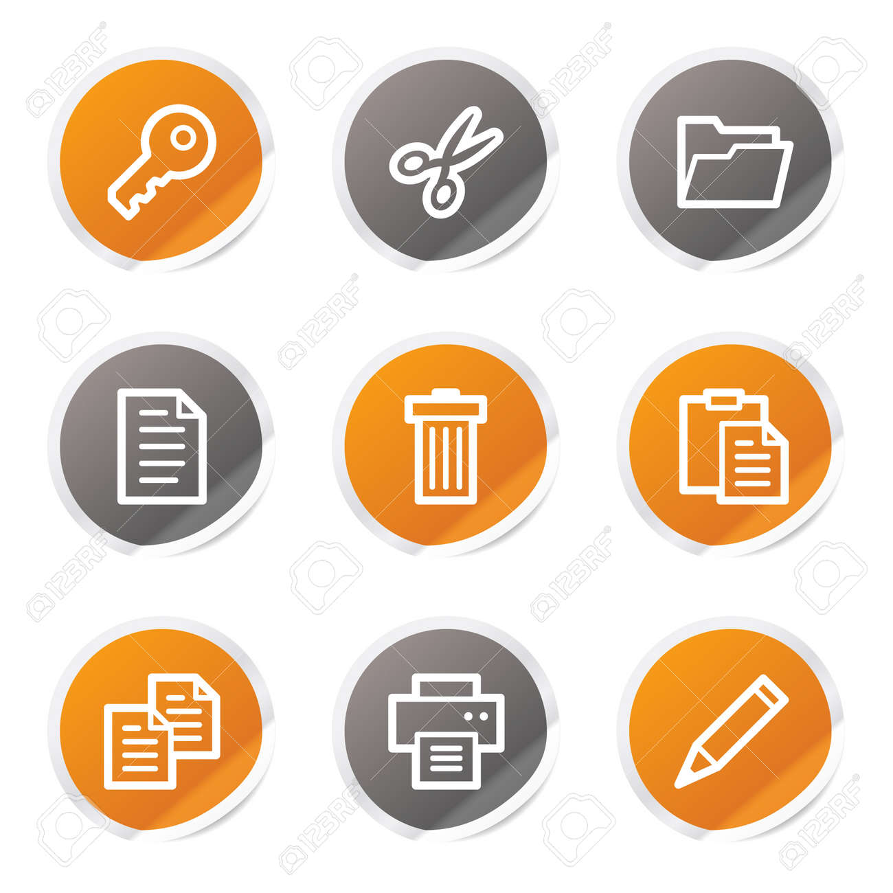 Document web icons set 1, orange and grey stickers Stock Vector - 6872905