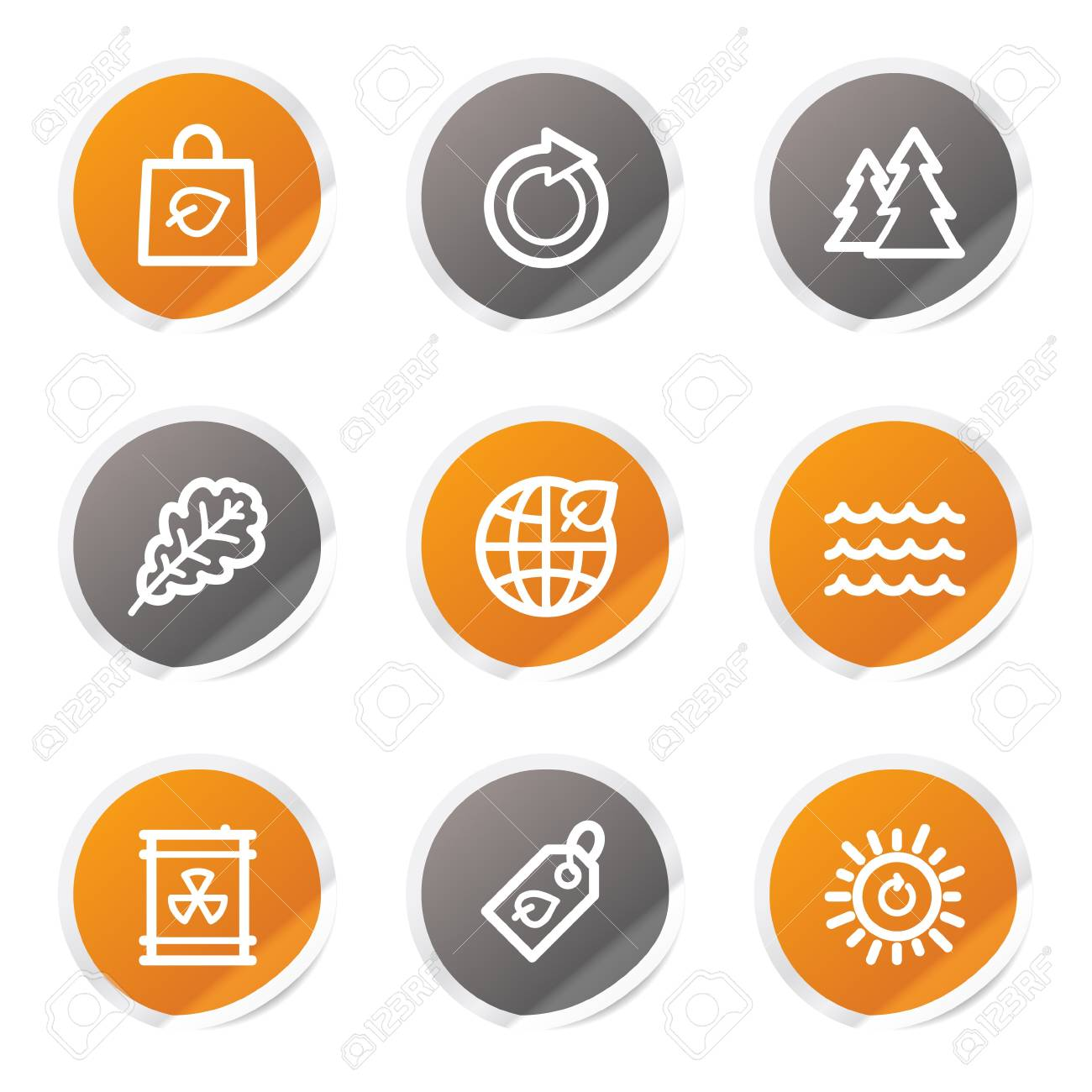 Ecology web icons set 3, orange and grey stickers Stock Vector - 6872927