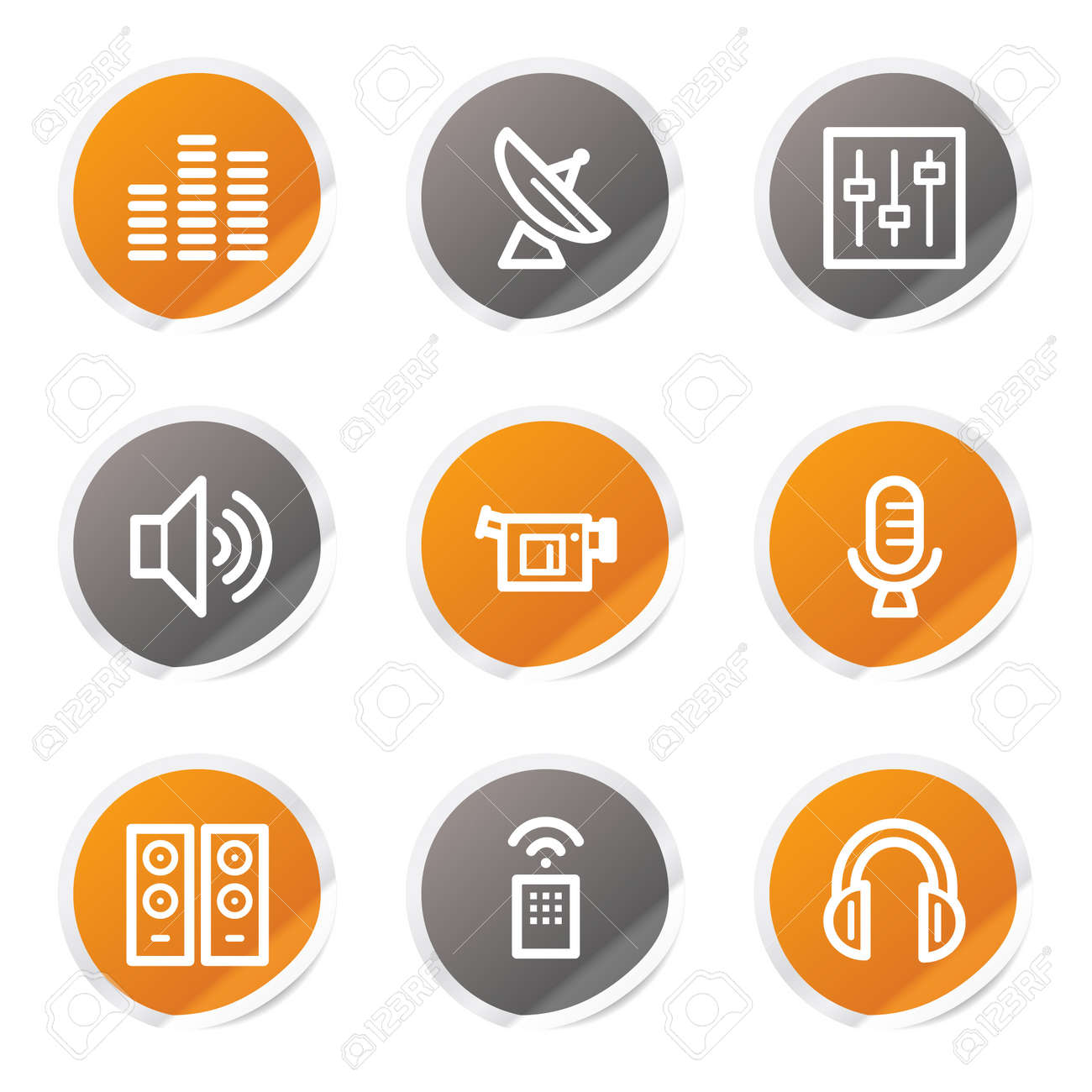 Media web icons, orange and grey stickers Stock Vector - 6872911