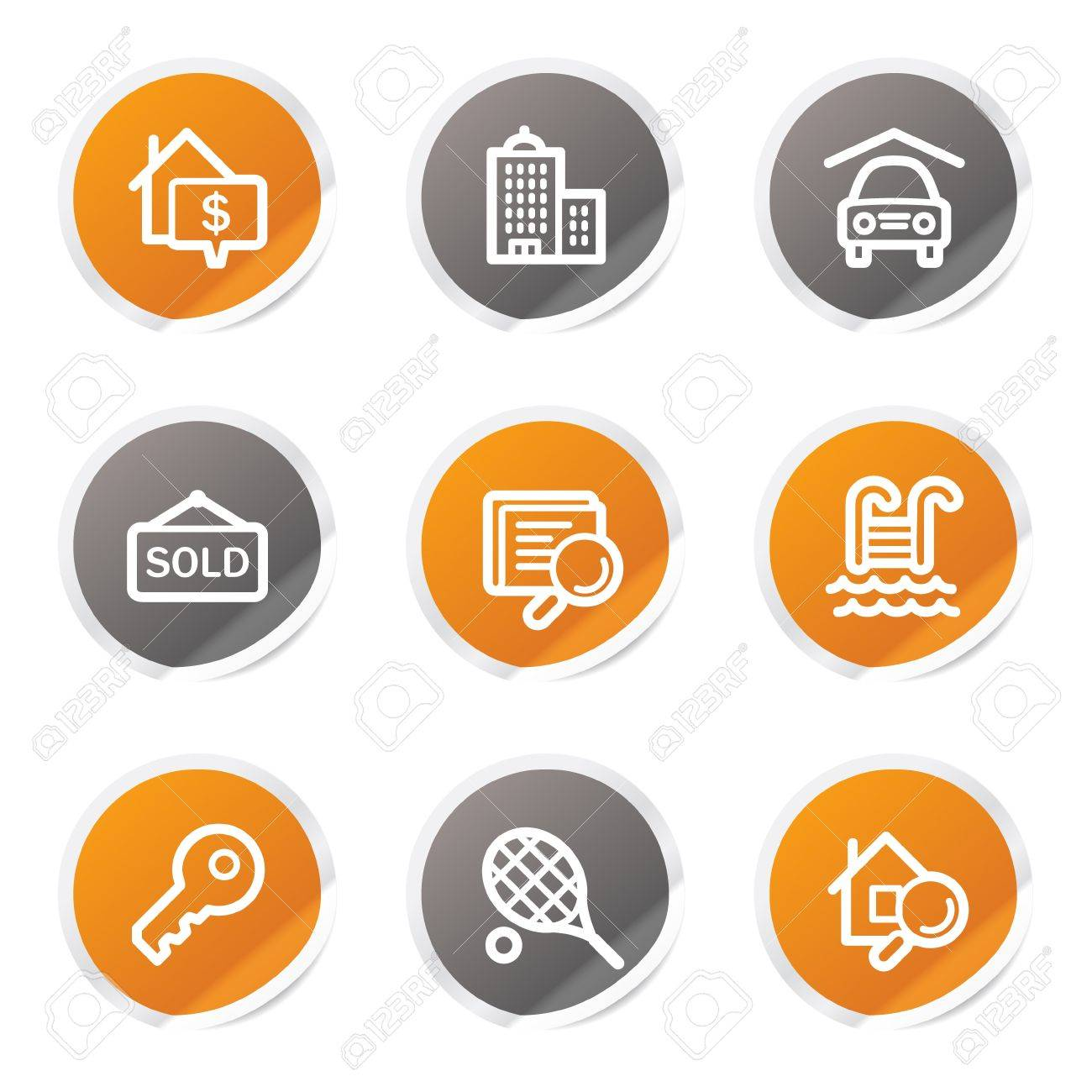 Real estate web icons, orange and grey stickers Stock Vector - 6872938