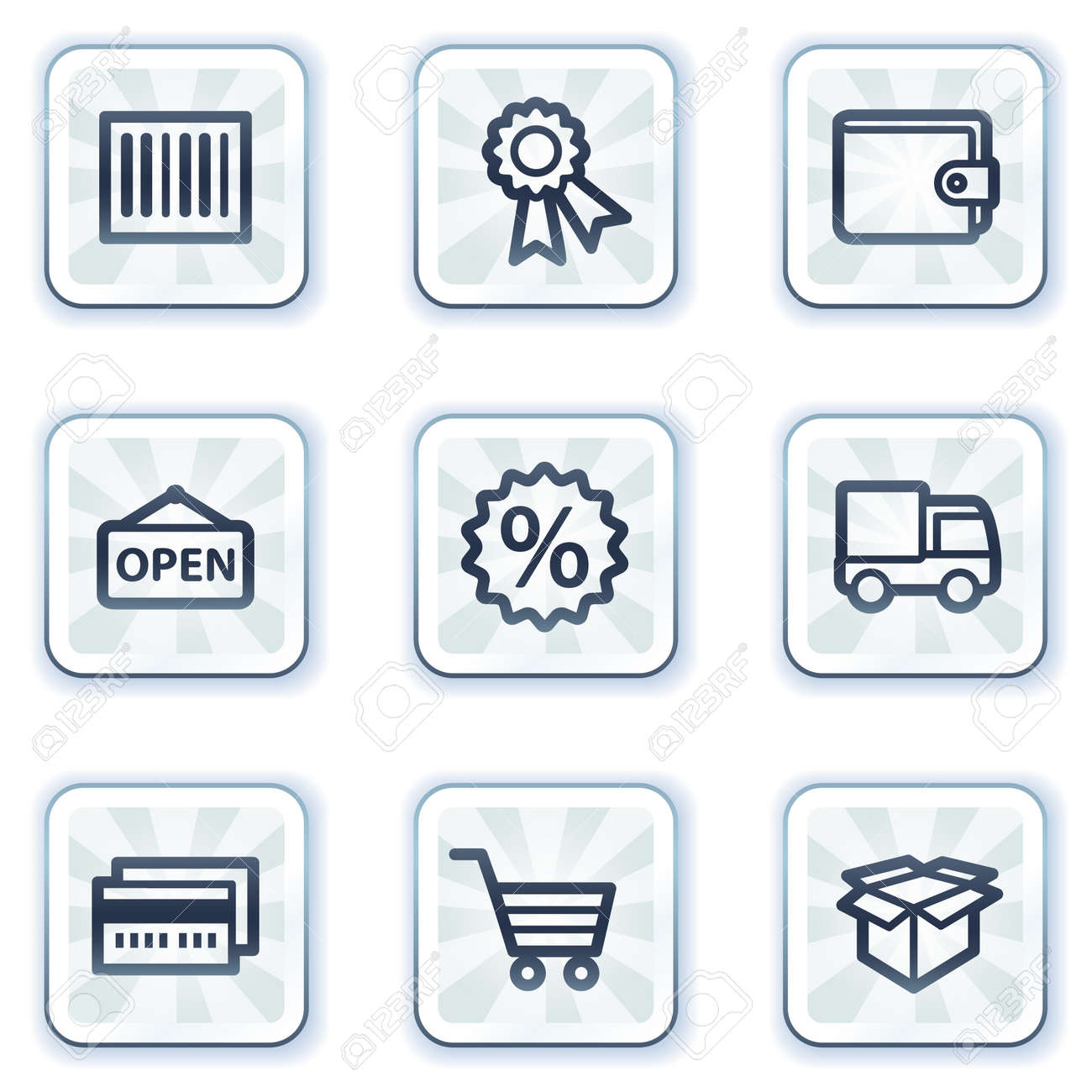 Shopping web icons set 2, white square buttons Stock Vector - 6931430