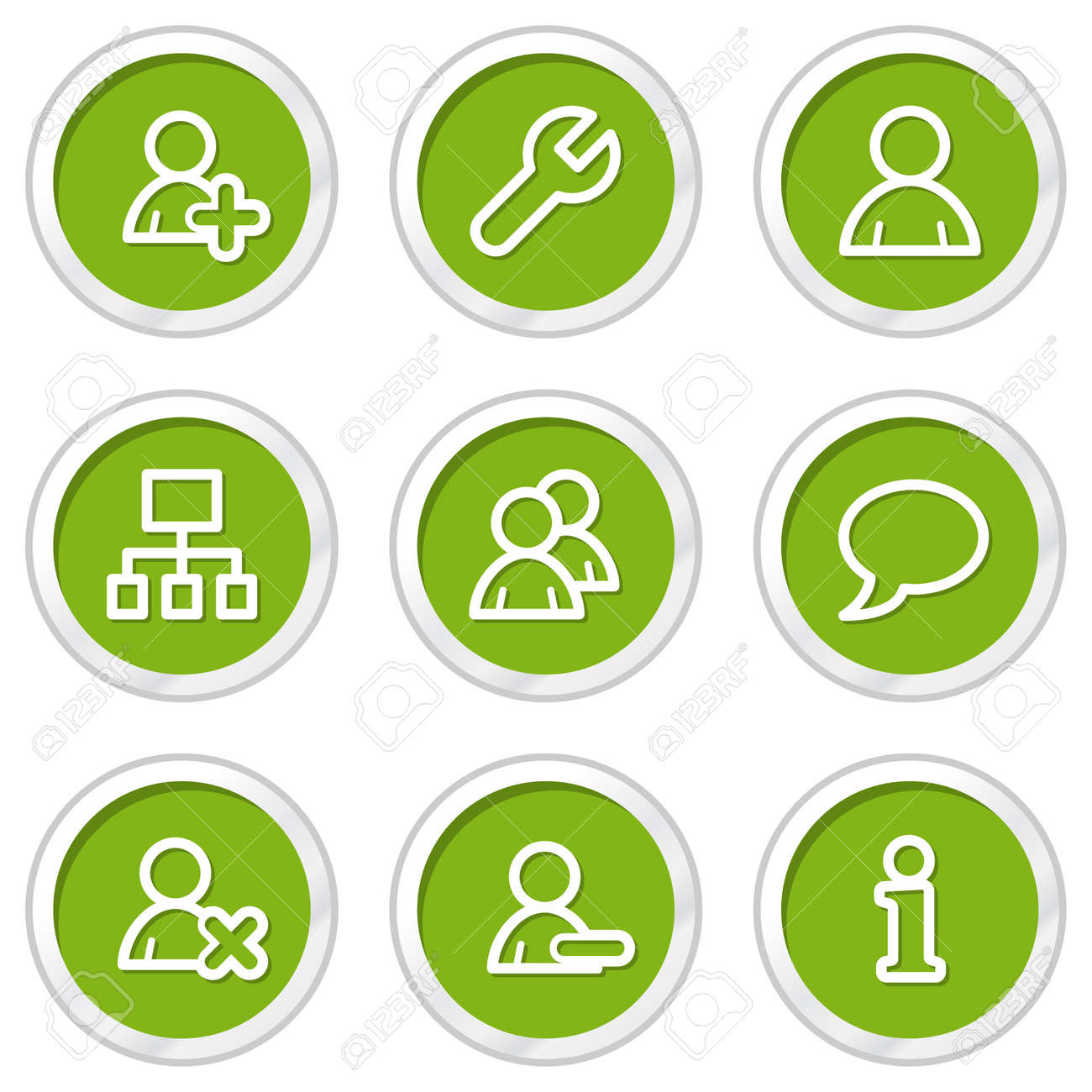 Users web icons, green circle buttons Stock Vector - 6968556