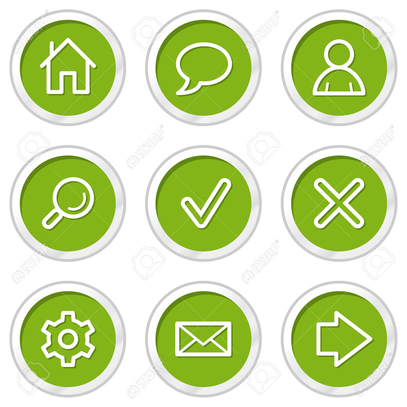 Basic Web Icons Set 1, Green Circle Buttons Royalty Free Cliparts ...