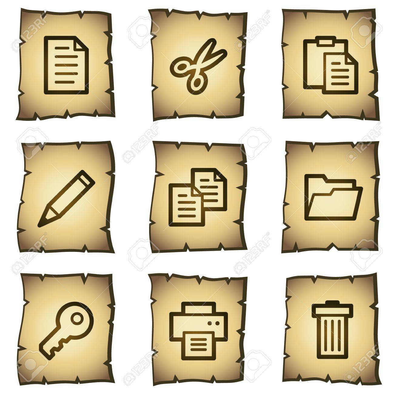 Document web icons set 1, papyrus series Stock Vector - 7004466