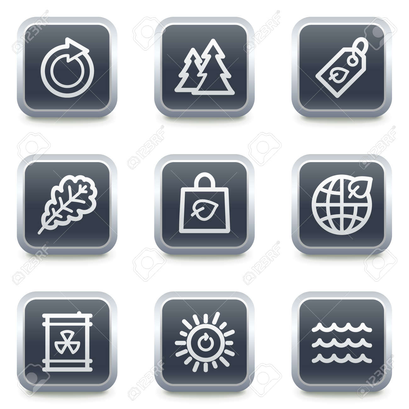Ecology web icons set 3, grey square buttons Stock Vector - 7139524