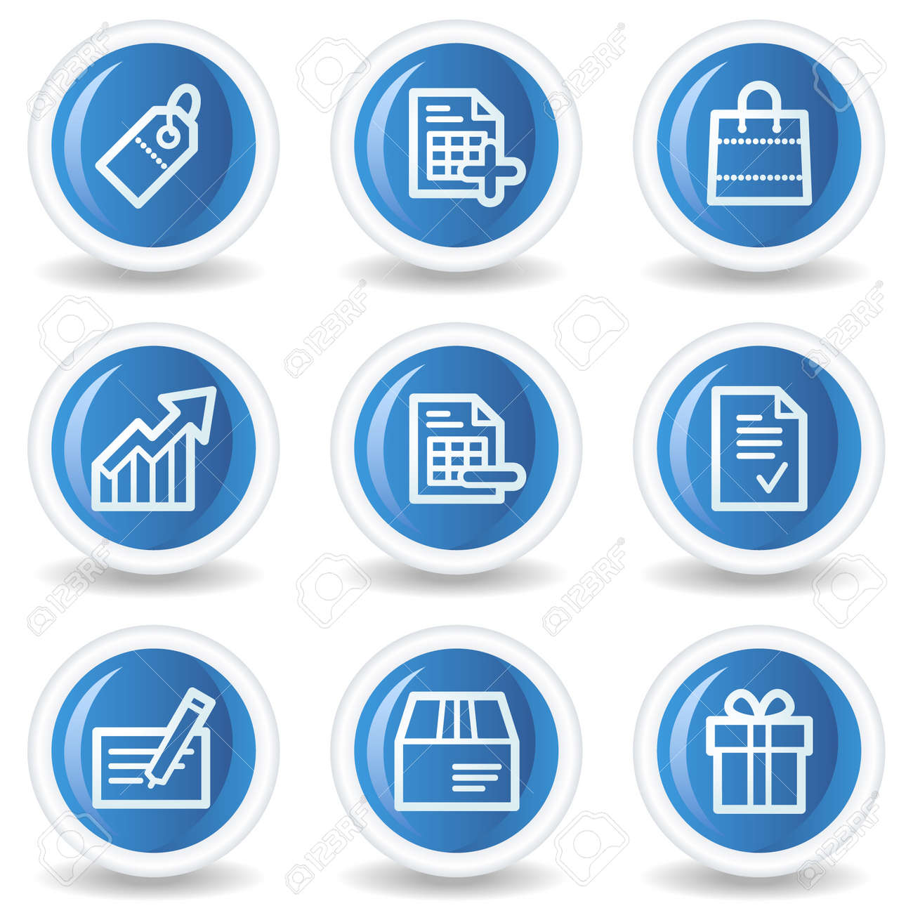 Shopping web icons set 1, blue glossy circle buttons Stock Vector - 7174567