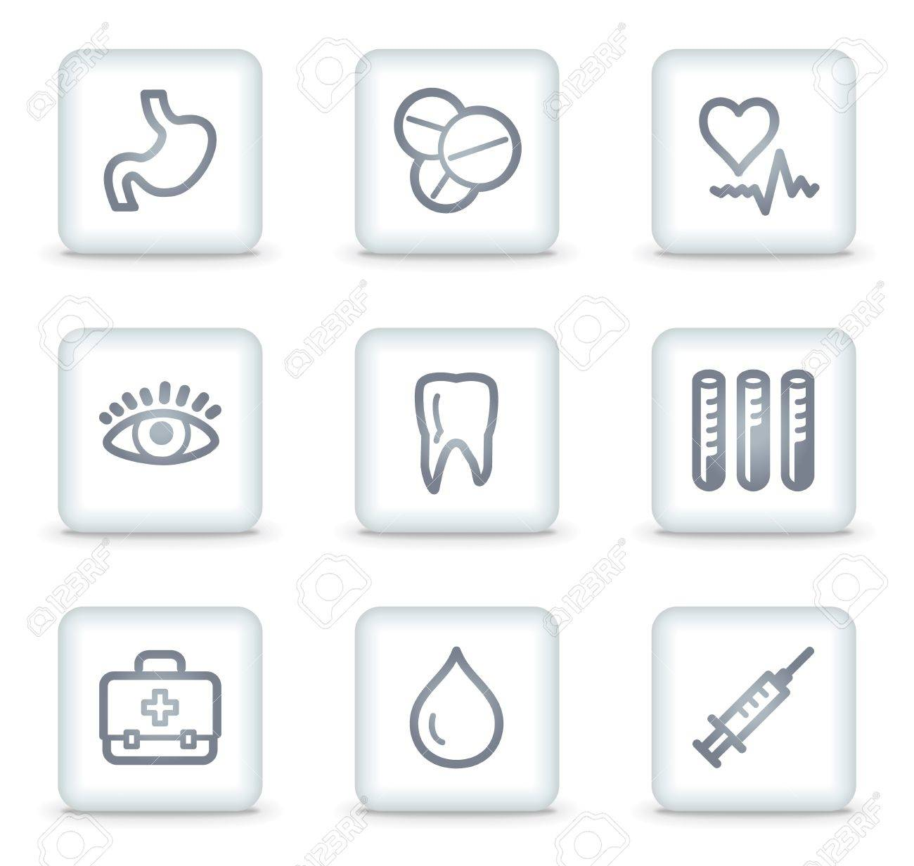 Medicine web icons set 1, white square buttons Stock Vector - 7174675
