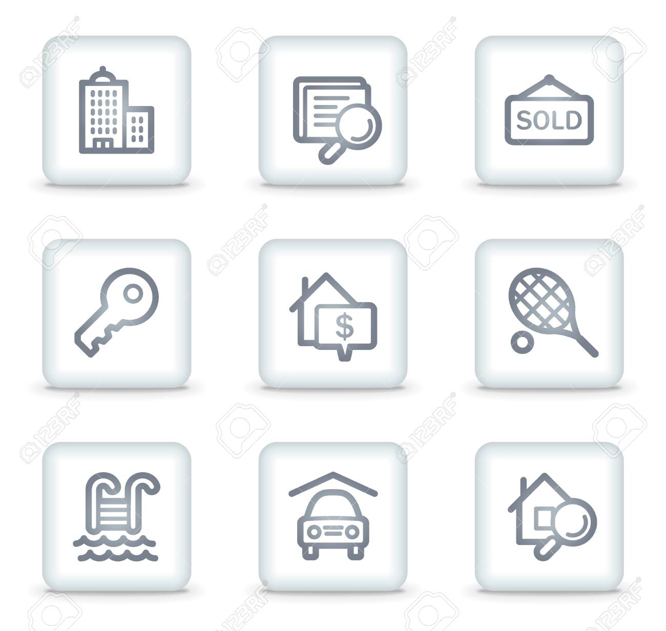Real estate web icons, white square buttons Stock Vector - 7174705