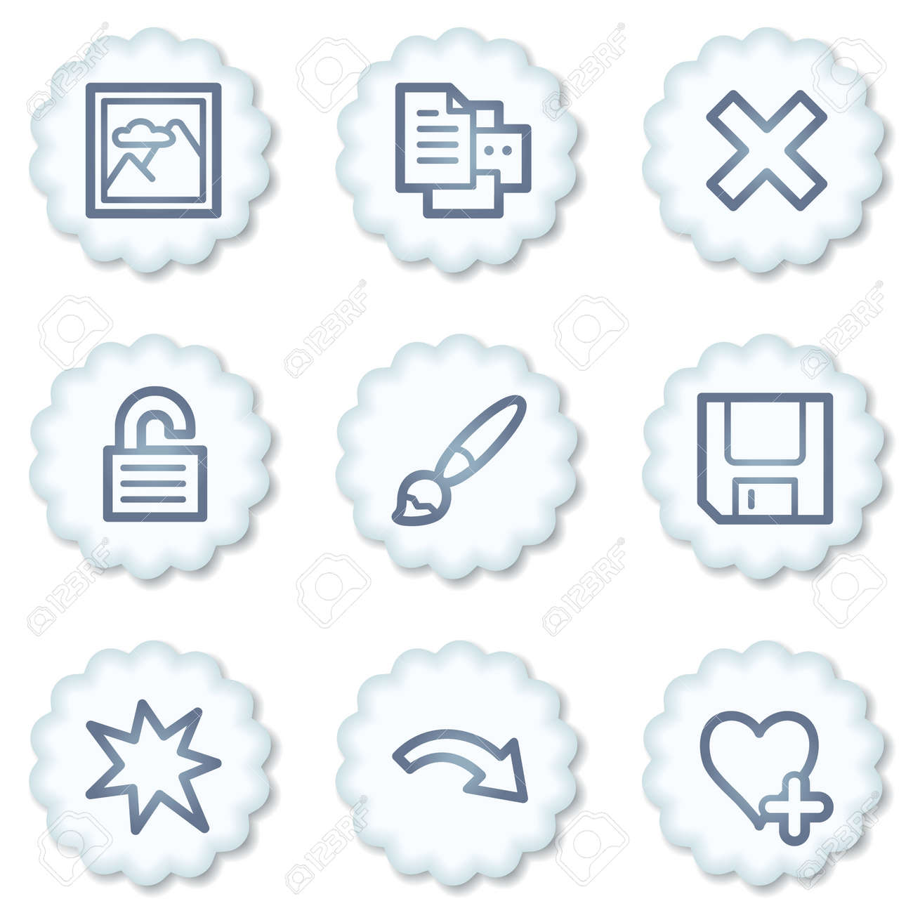 Image viewer web icons set 2, white buttons Stock Photo - 7339075