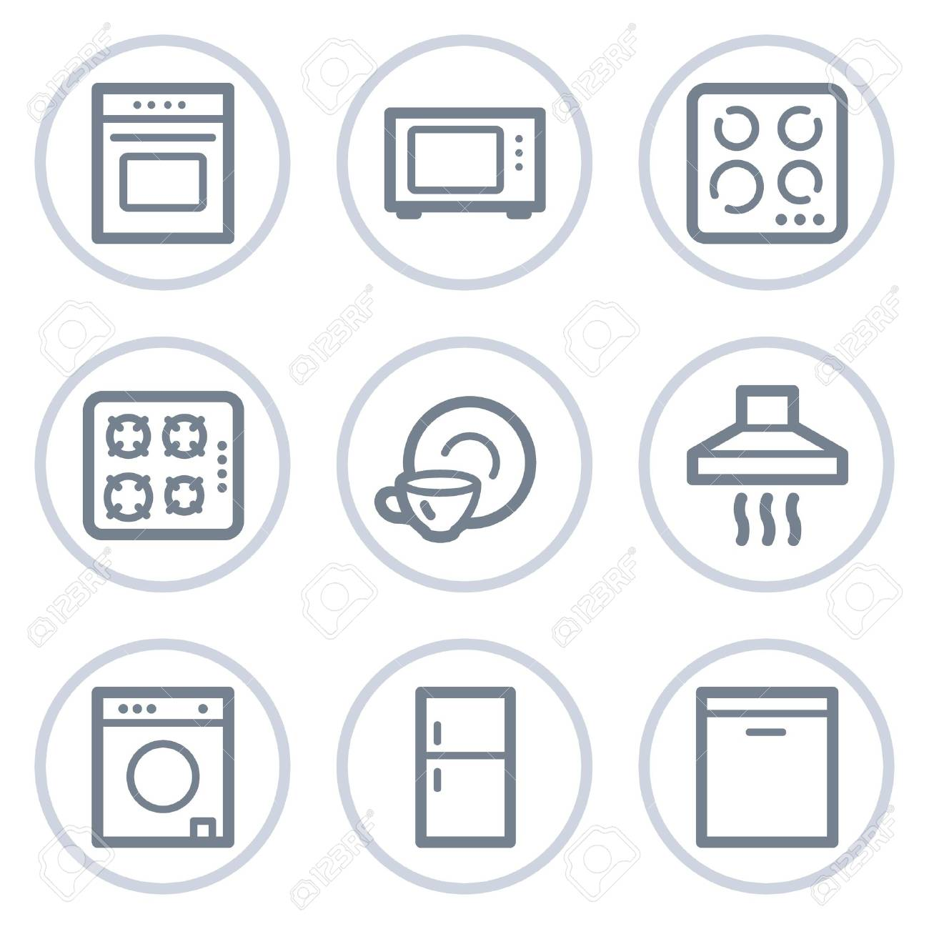 Home appliances web icons, white circle series Stock Vector - 7422747