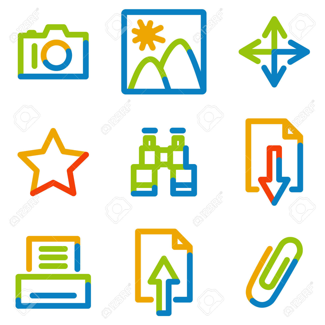 Image library icons, color contour series Stock Vector - 7426230