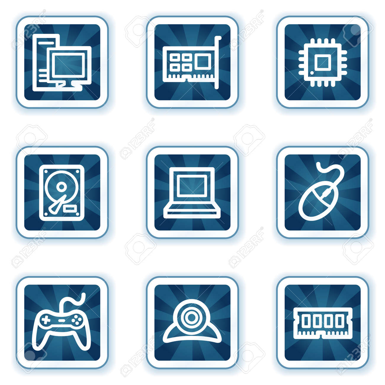 Computer web icons, navy square buttons Stock Vector - 7426282