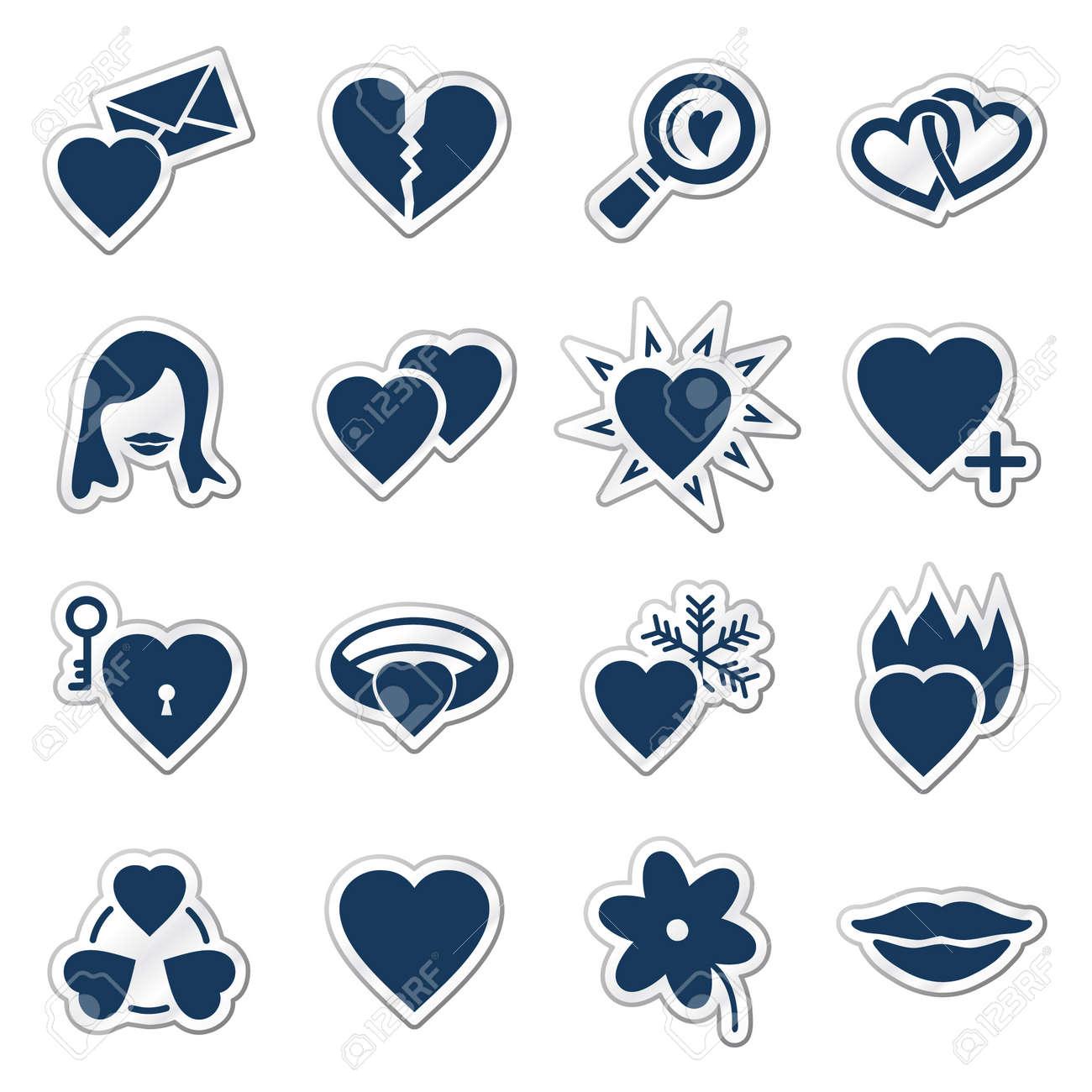 Love web icons, navy sticker series Stock Vector - 7426311