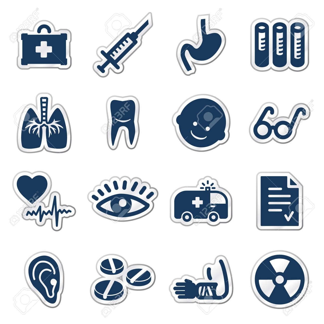 Medicine web icons, navy sticker series Stock Vector - 7426309