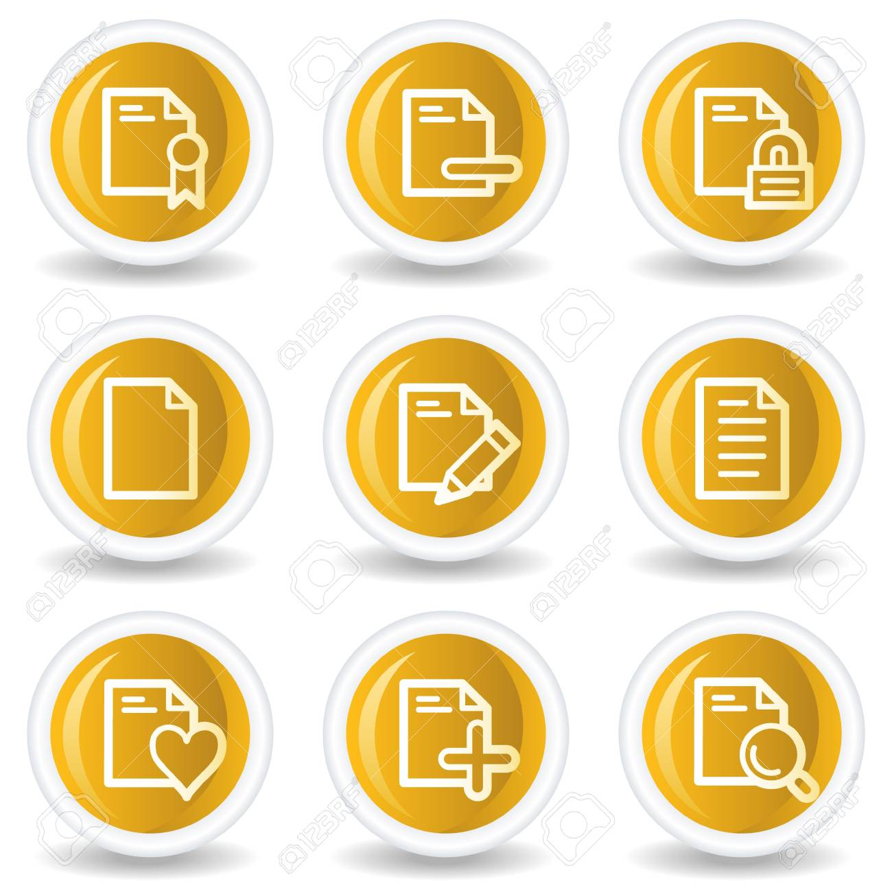 Document web icons set 2, yellow glossy circle buttons Stock Vector - 7445608