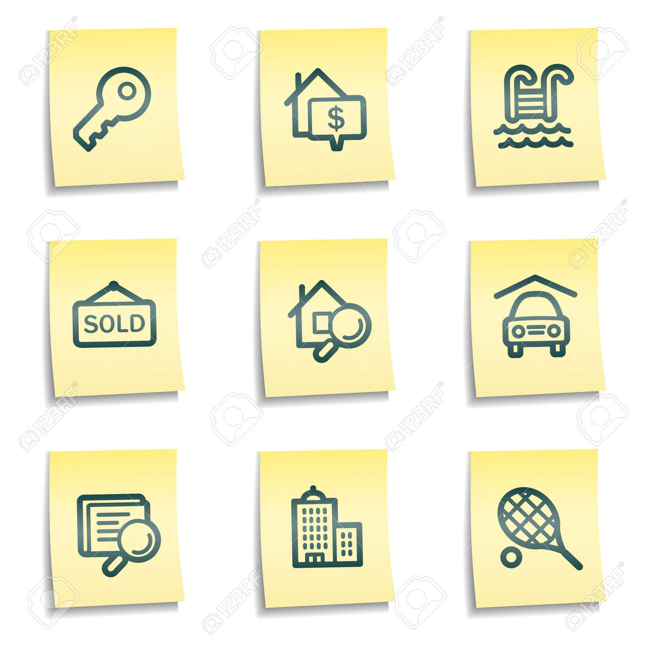 Real estate web icons, yellow notes series Stock Vector - 7524288