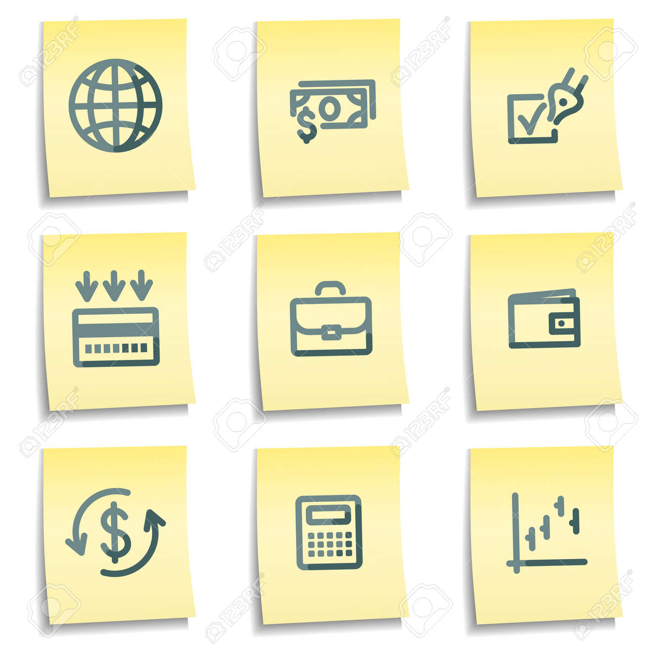 Finance icons, yellow notes series Stock Vector - 7550280