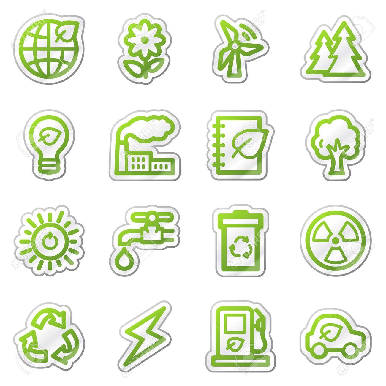 Ecology web icons set 1, green sticker series Stock Photo - 7749967