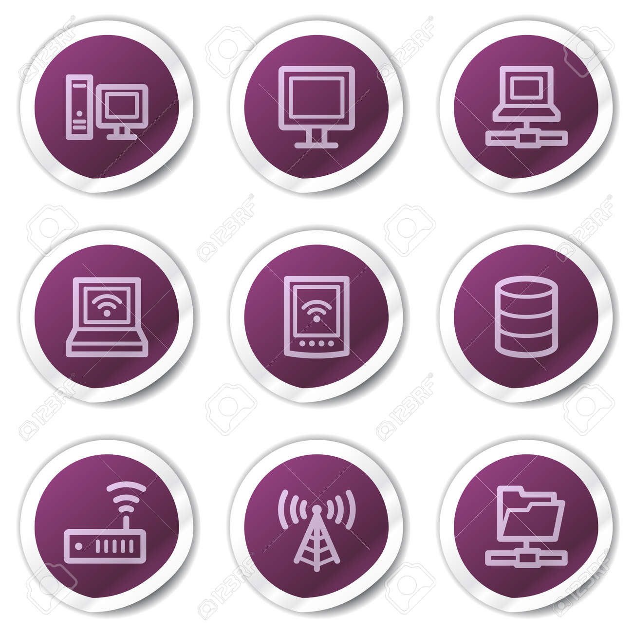 Network web icons, purple stickers series Stock Vector - 7866705