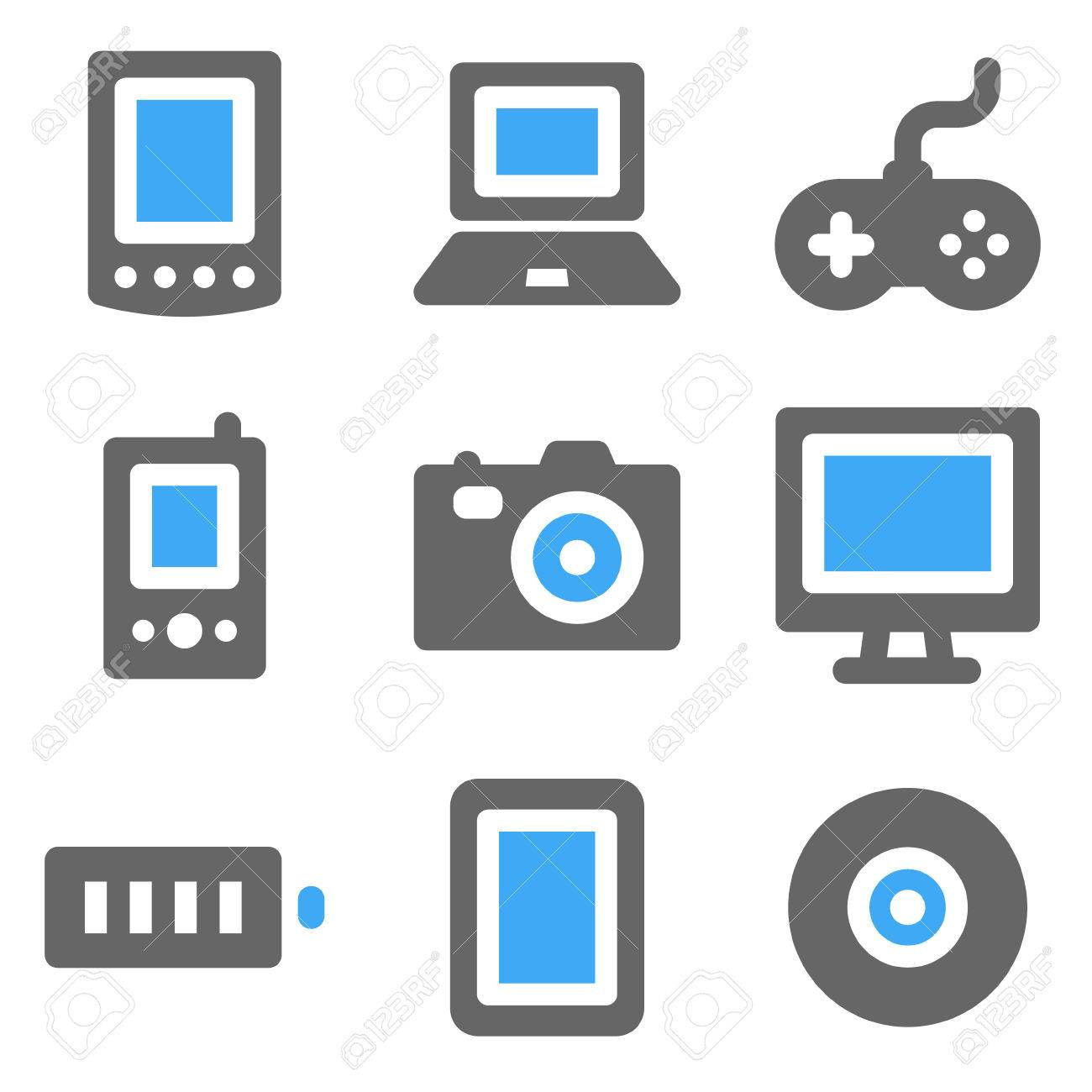 Electronics web icons, blue and grey solid icons Stock Vector - 7935997