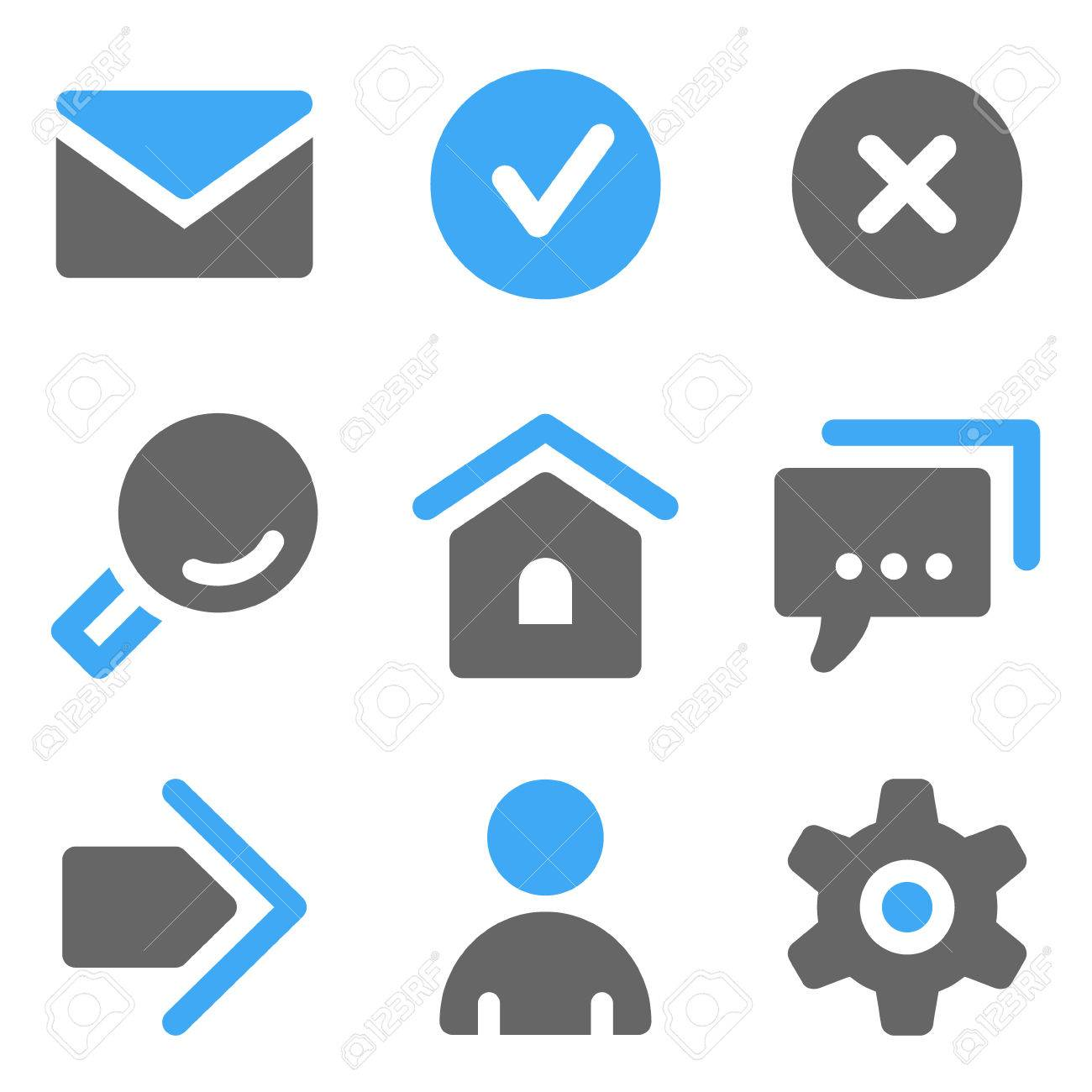 Basic web icons, blue and grey solid icons Stock Vector - 7935996