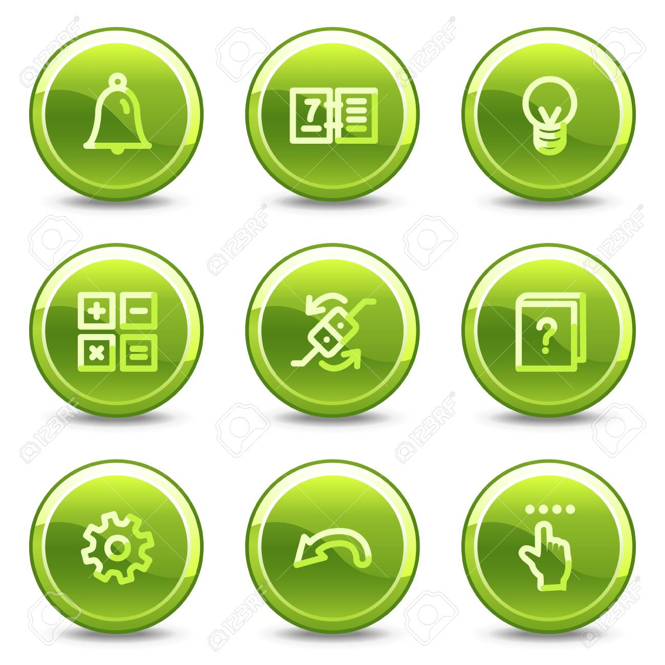 Organizer icons , green circle glossy buttons Stock Vector - 8411442